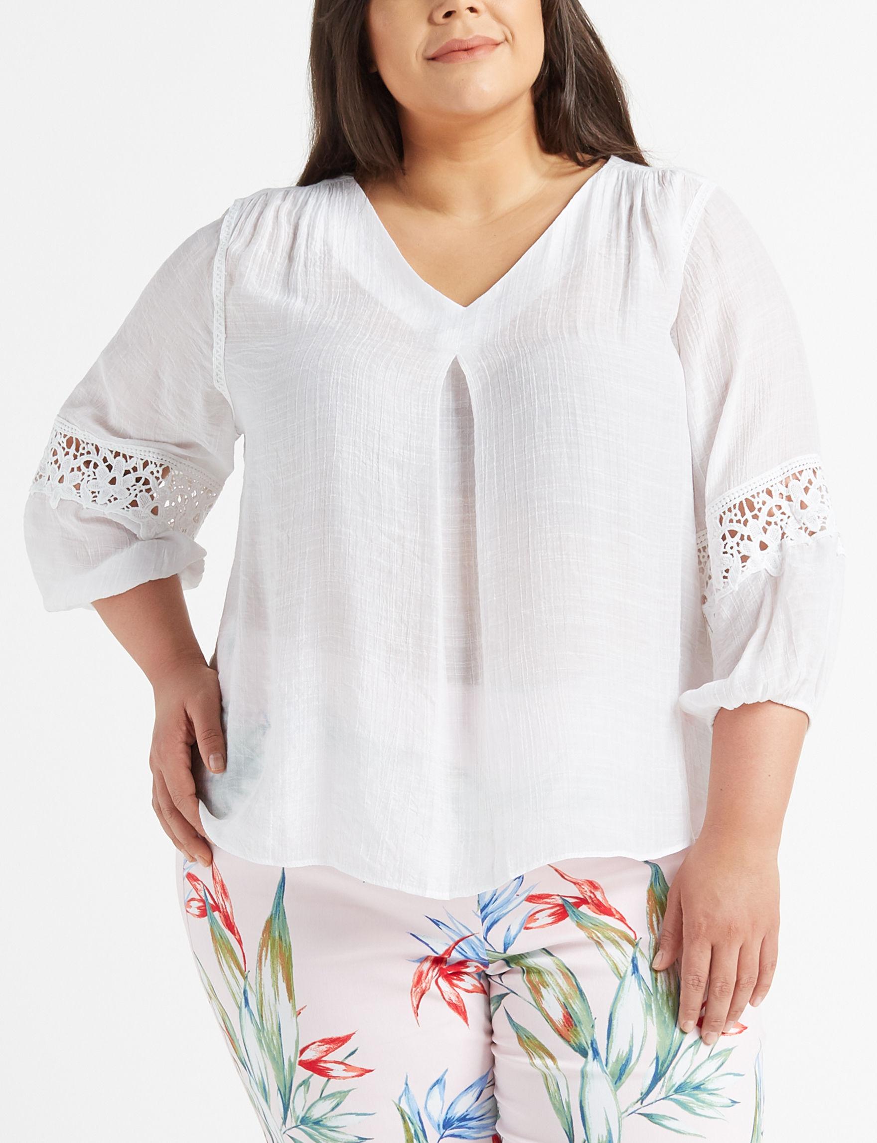 e41f310a7f6 Zac   Rachel Plus Size Crocheted Sleeve Blouse