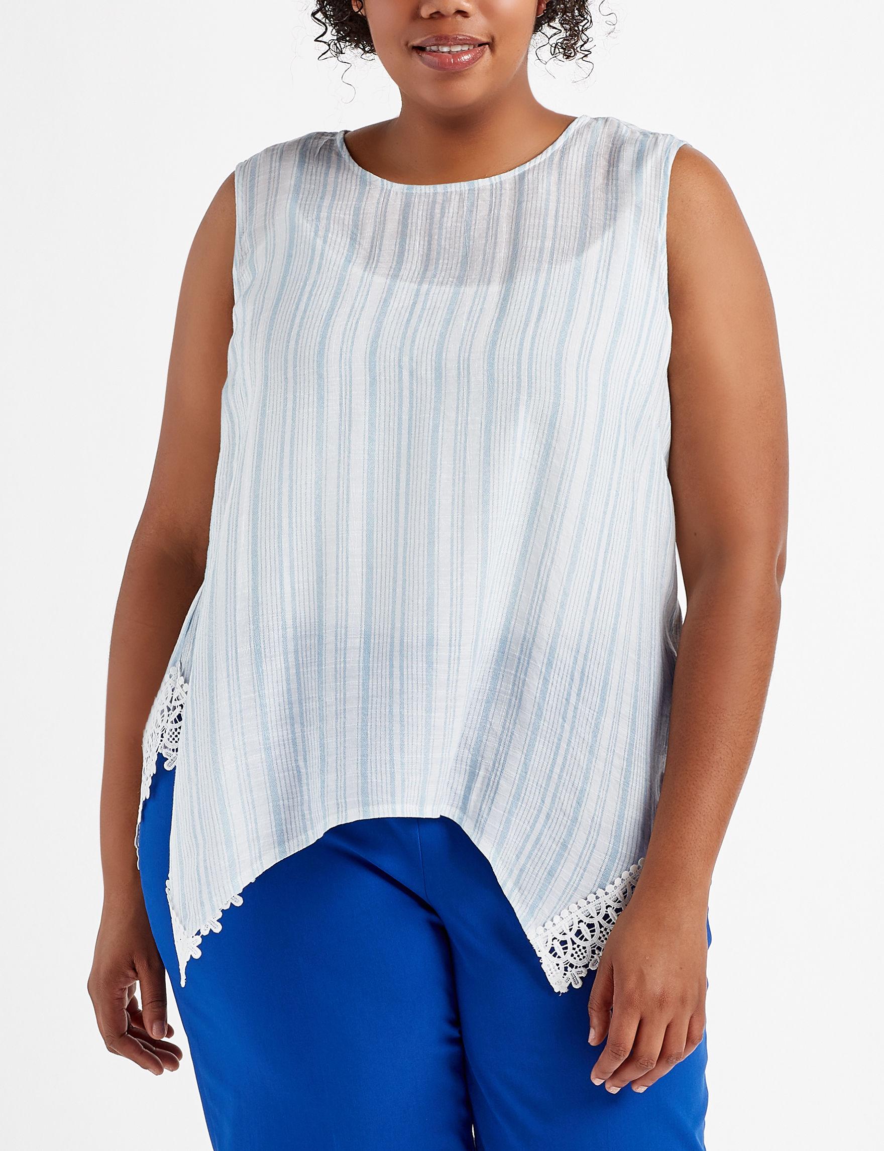 Zac & Rachel White / Blue Shirts & Blouses