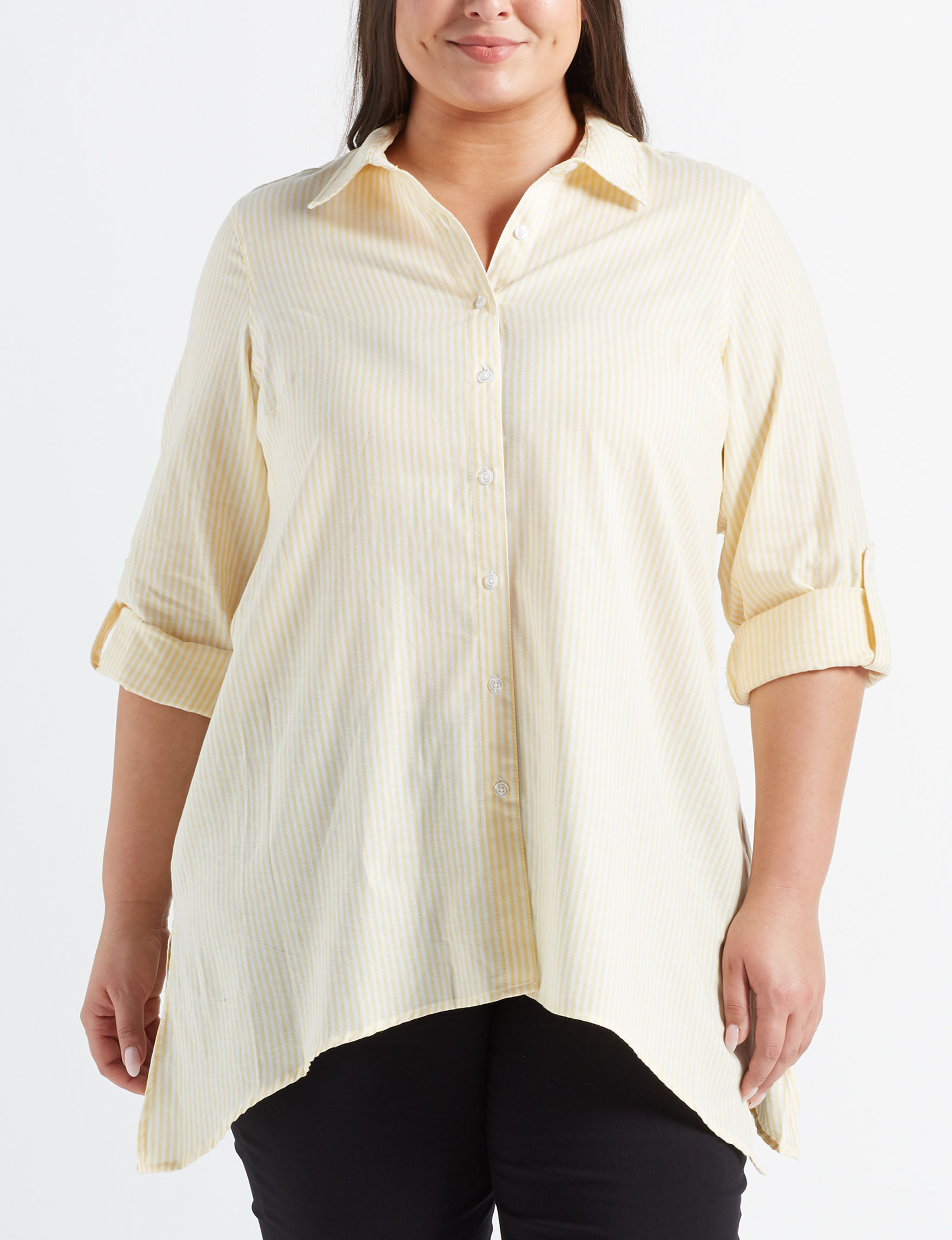 Zac & Rachel Yellow / White Shirts & Blouses