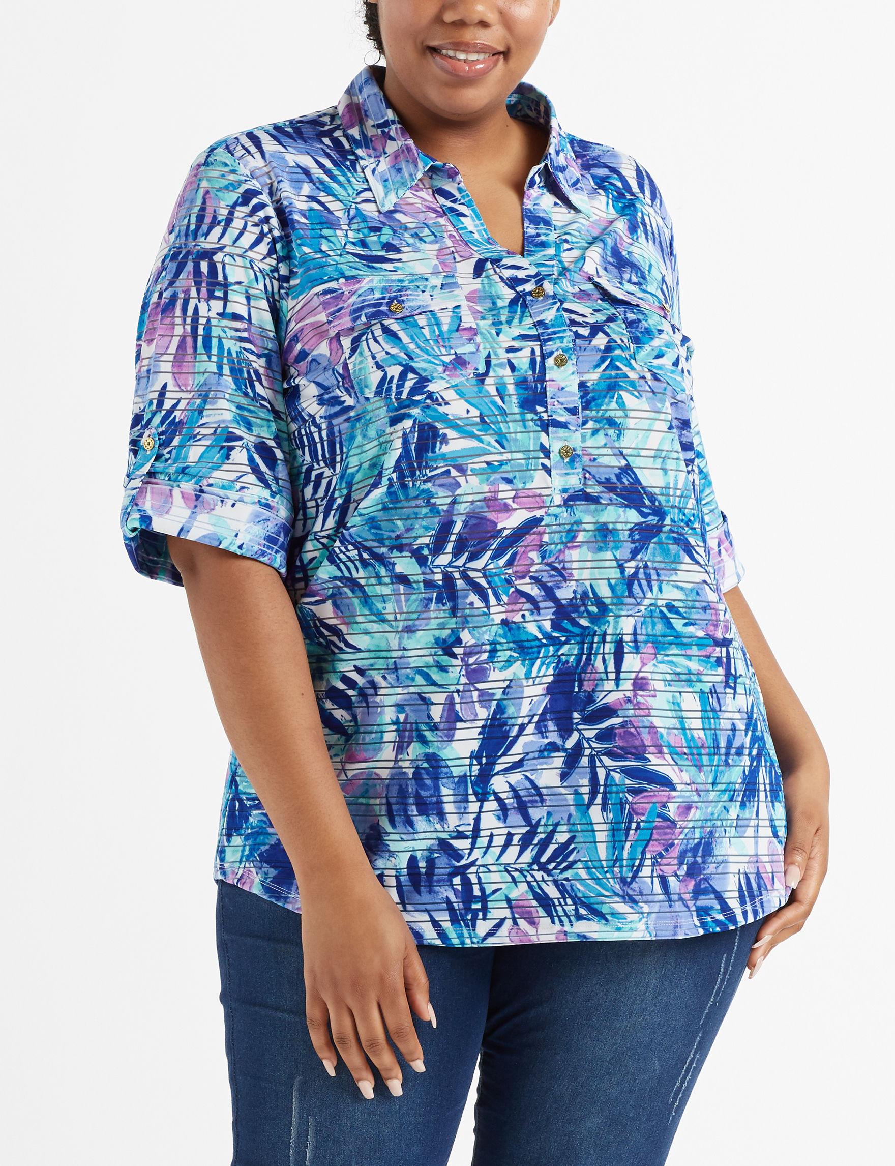 Rebecca Malone Blue Multi Shirts & Blouses