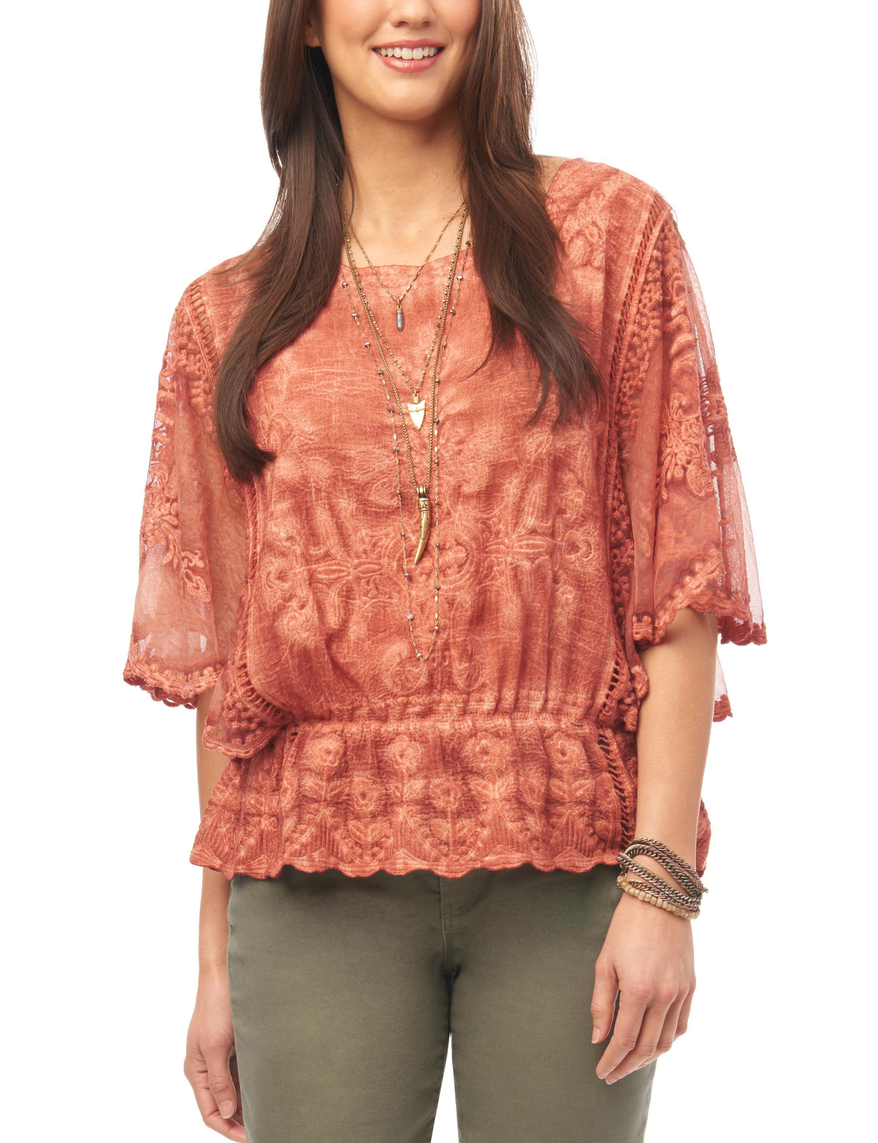 Democracy Coral Shirts & Blouses