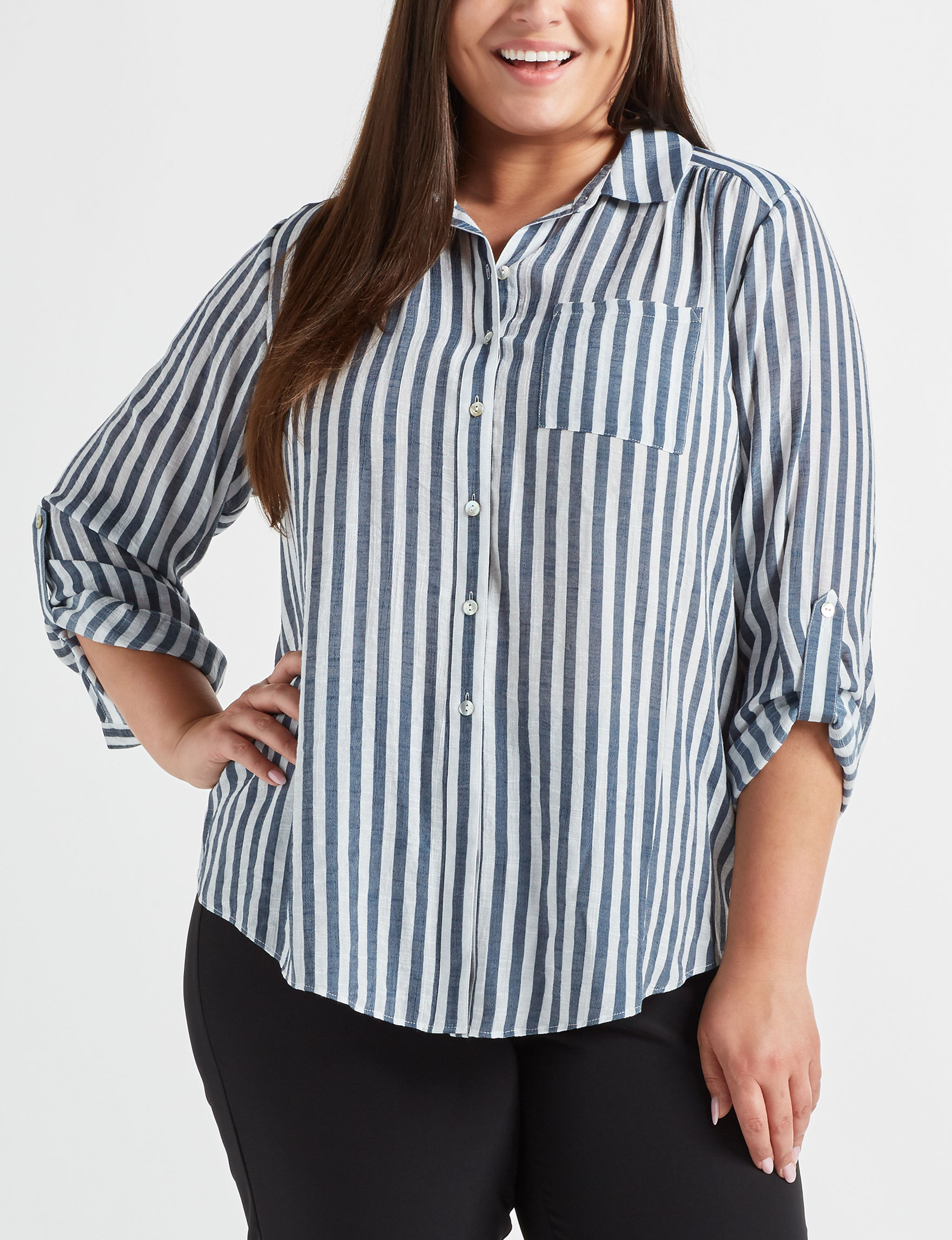 Zac & Rachel White Stripe Shirts & Blouses