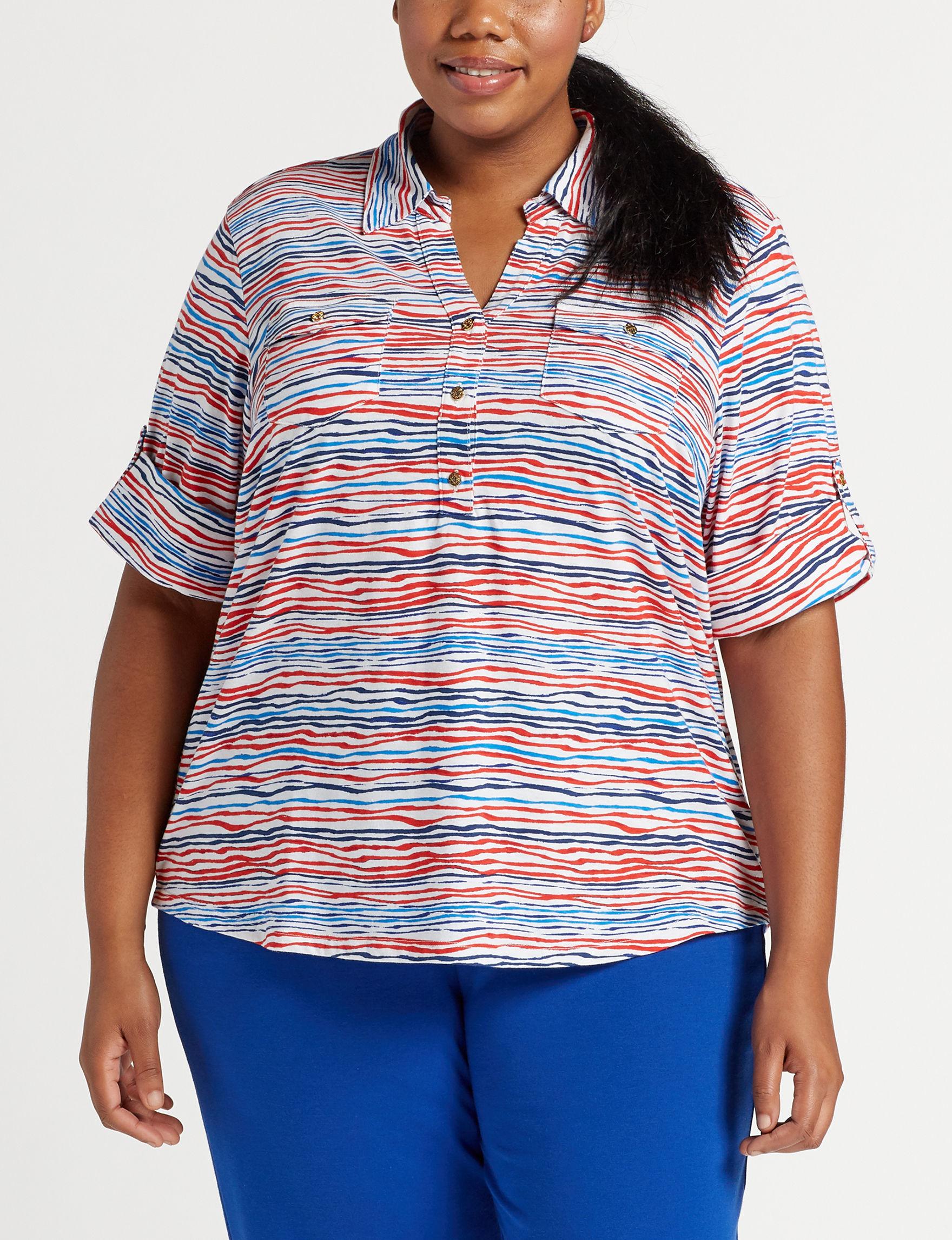 Cathy Daniels White Multi Shirts & Blouses