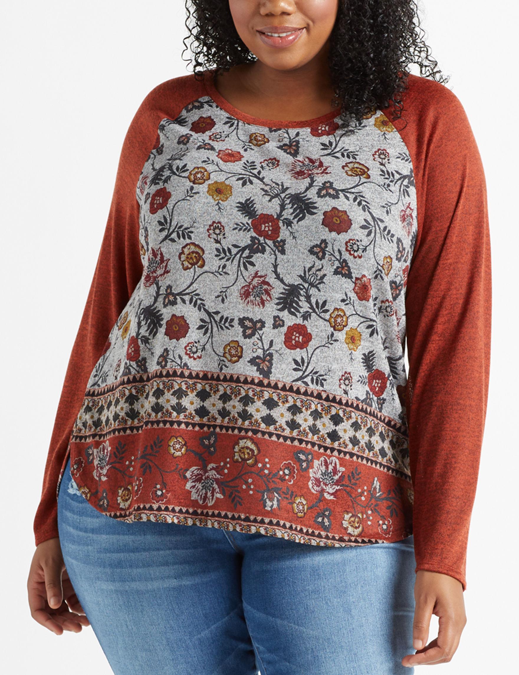 LA Threads Orange Multi Shirts & Blouses