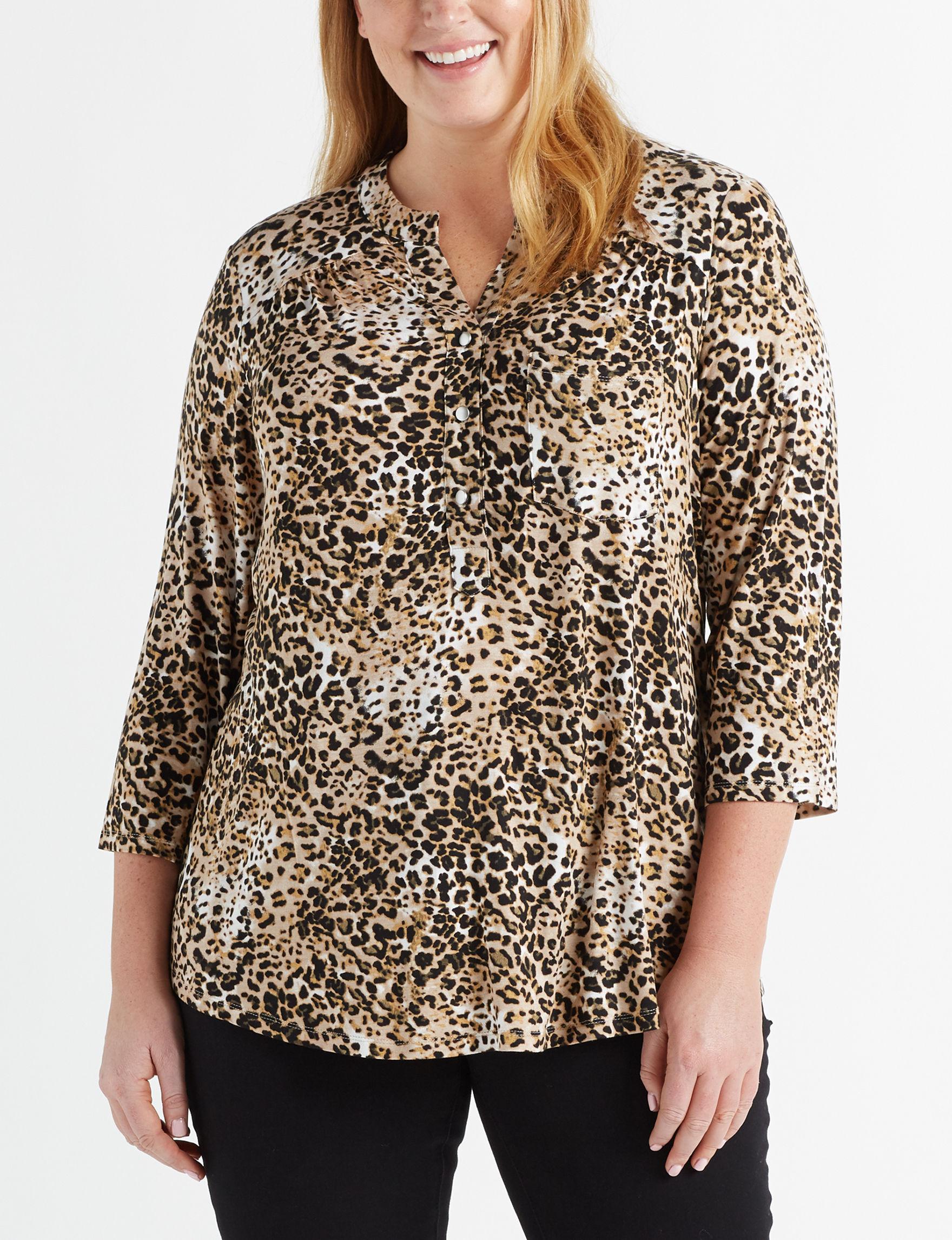 LA Threads Animal Print Casual Button Down Shirts Shirts & Blouses