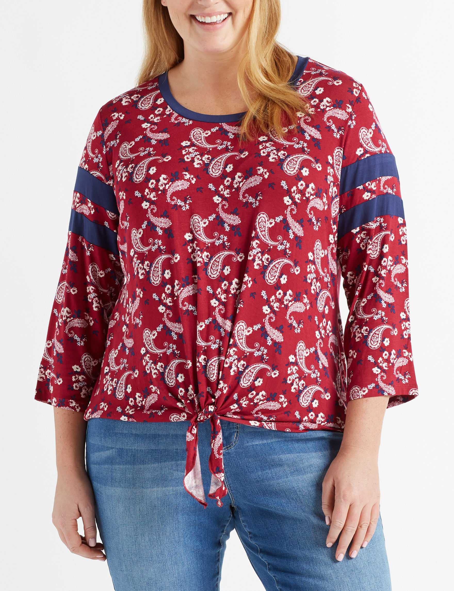 LA Threads Red Casual Button Down Shirts Shirts & Blouses
