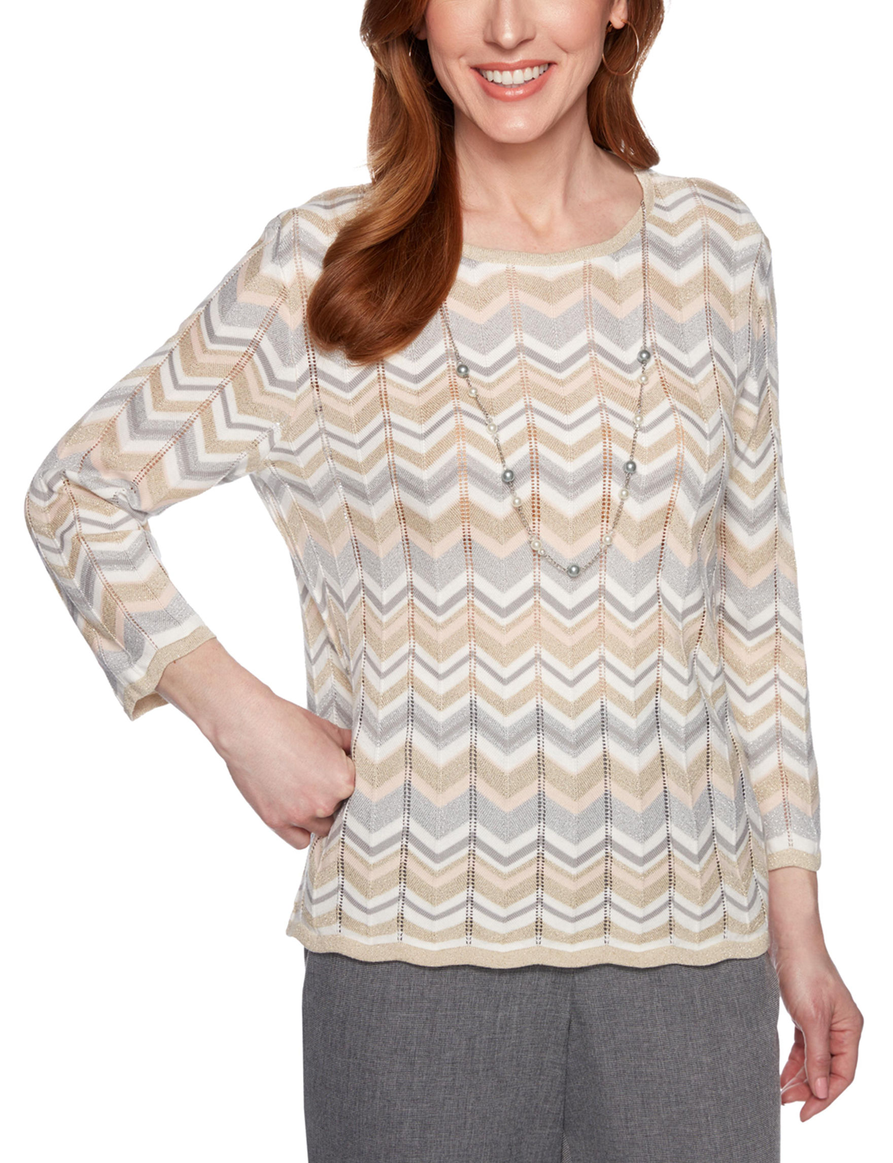 Alfred Dunner Beige Multi Pull-overs