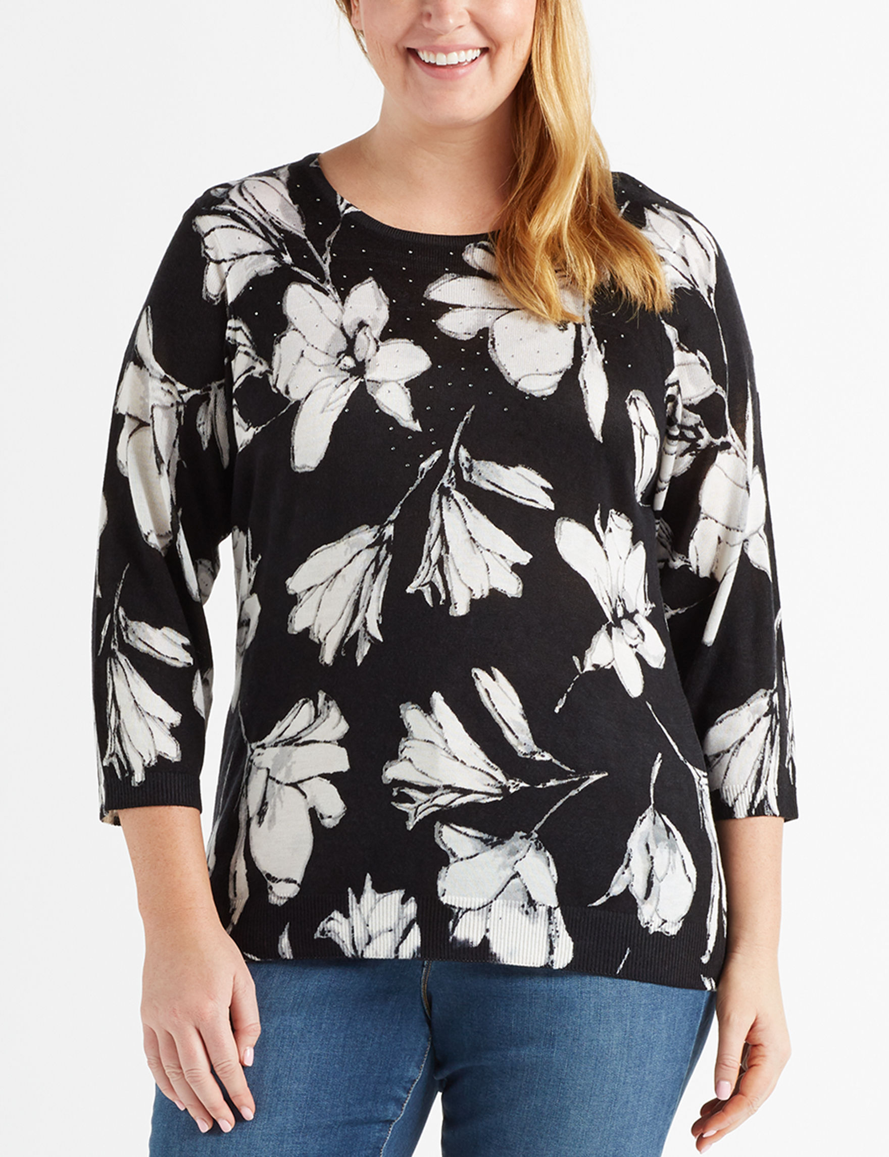 Cathy Daniels Black / White Shirts & Blouses