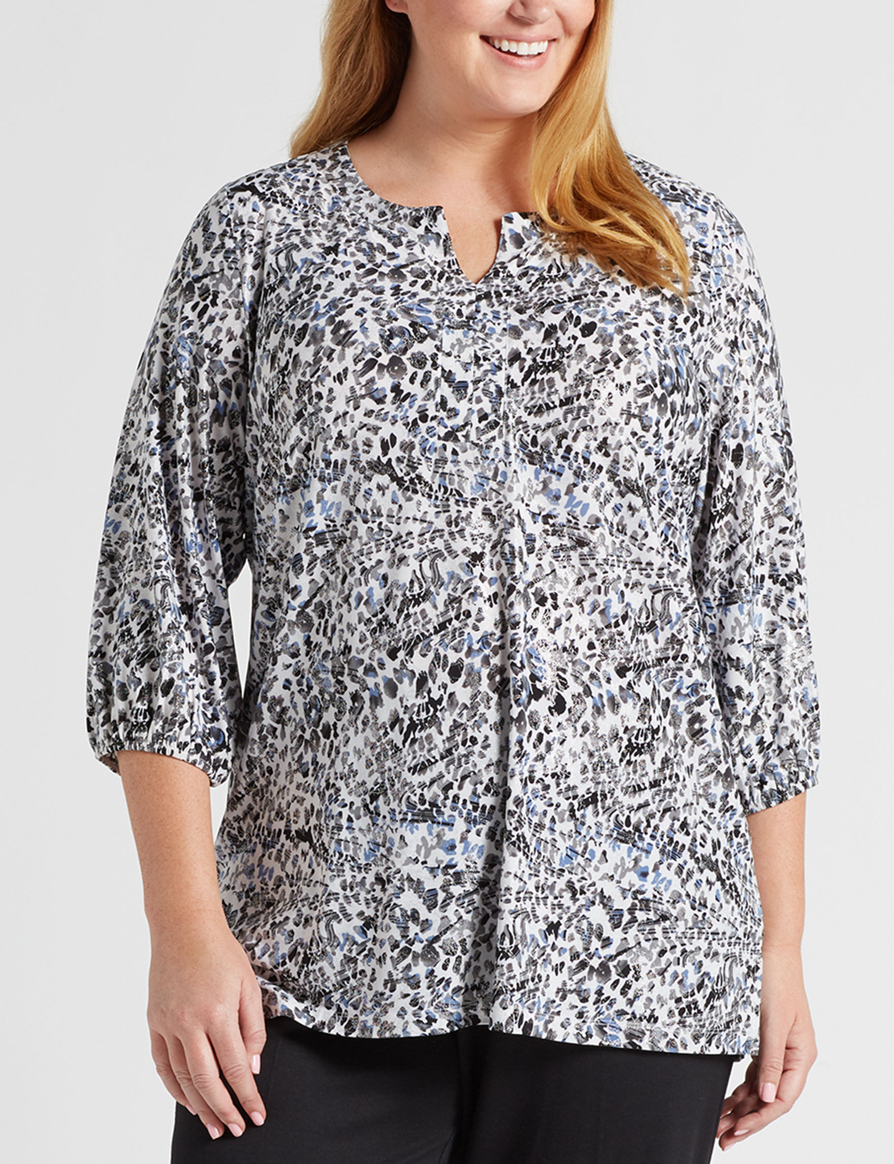 Rebecca Malone Grey / Black / White Shirts & Blouses