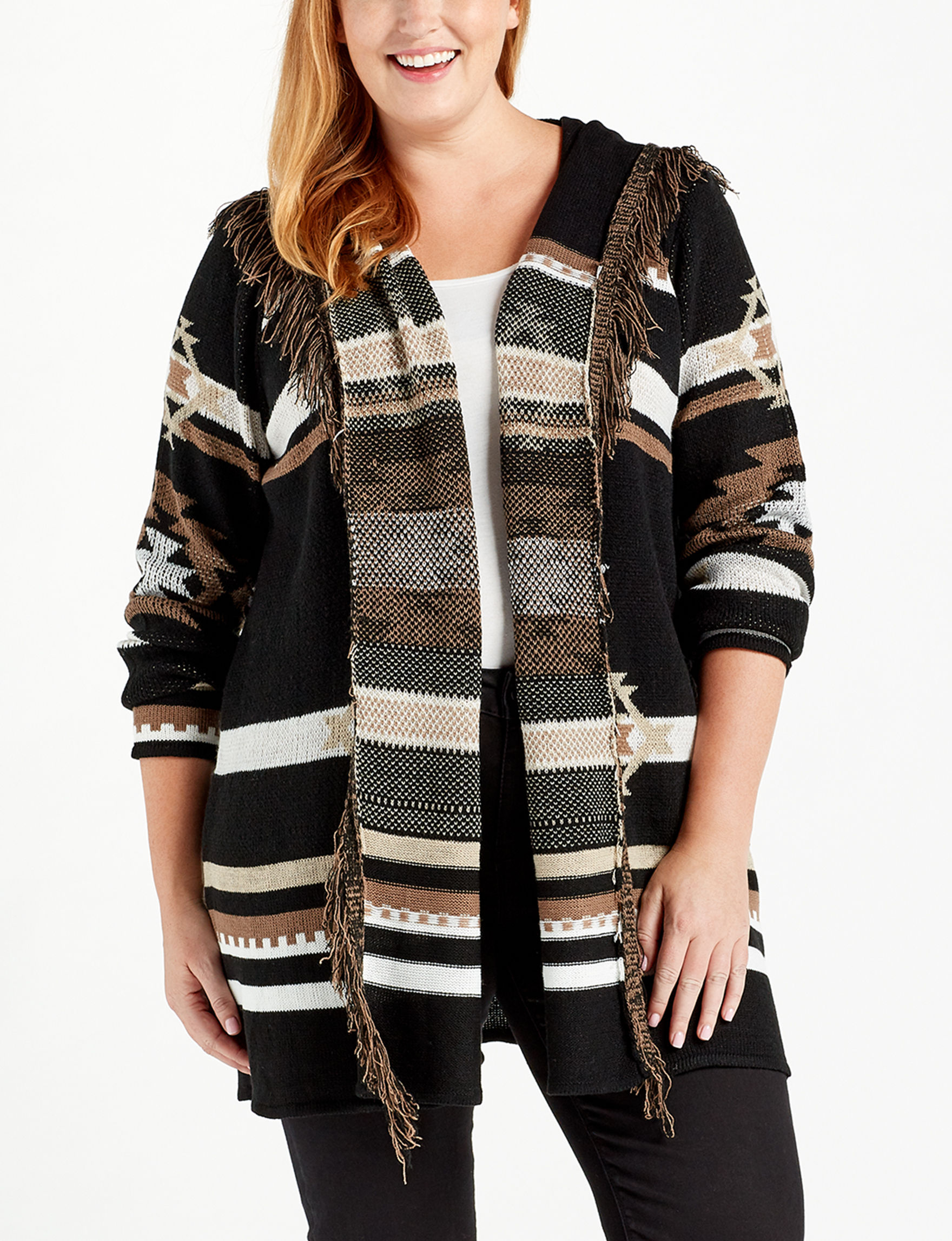 Absolutely Famous Black Multi Cardigans