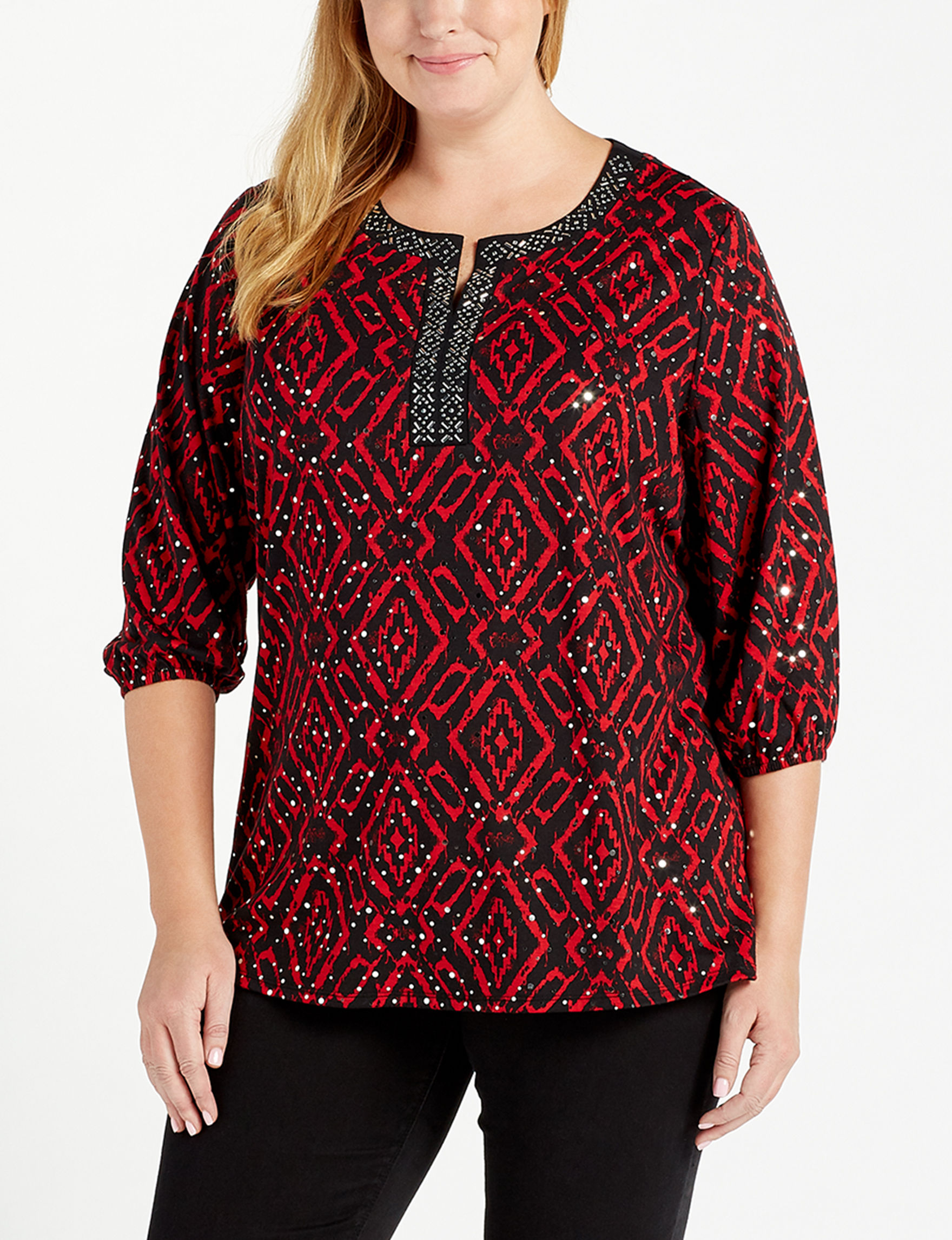 Cathy Daniels Black / Red Shirts & Blouses