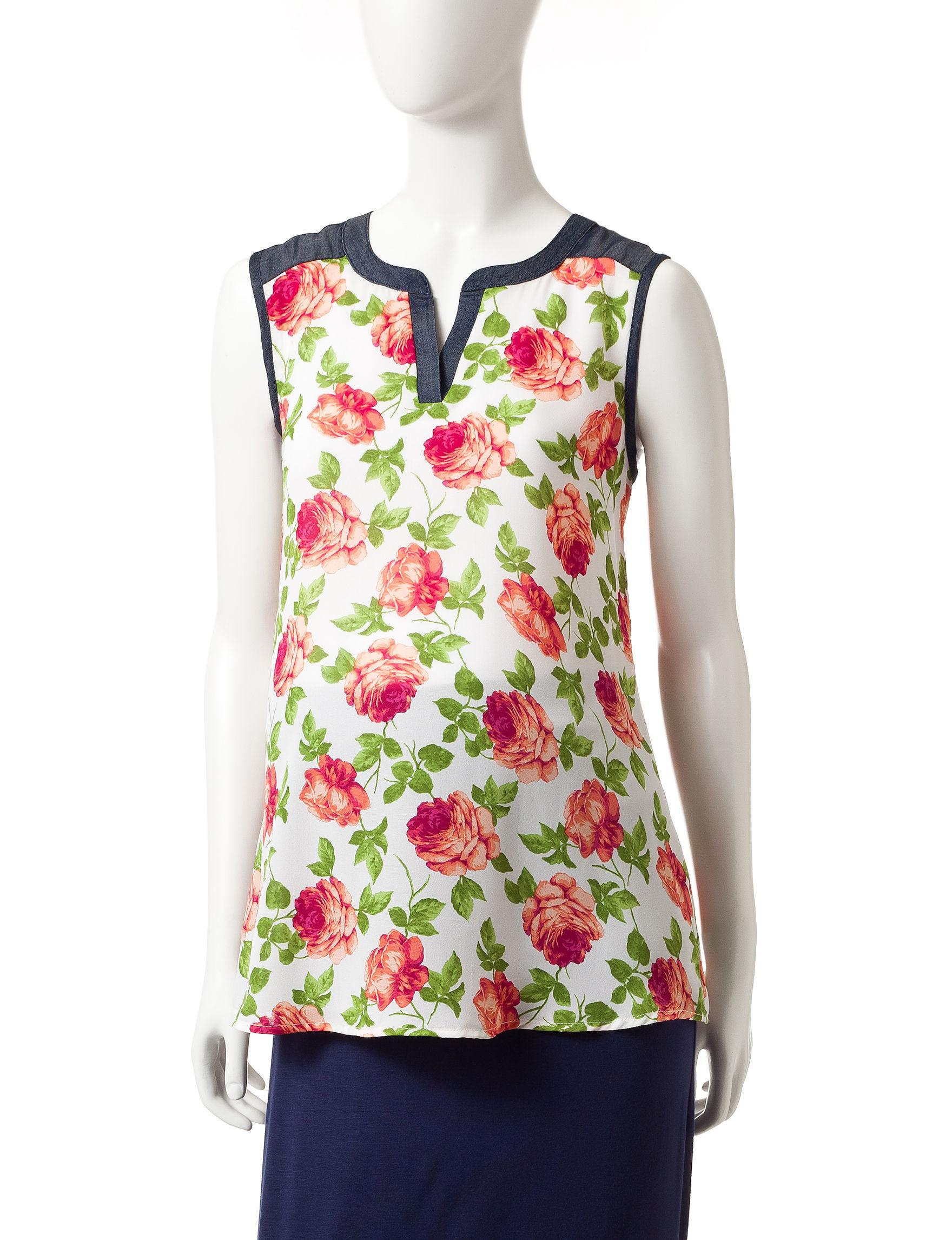 Three Season Maternity Floral Shirts & Blouses