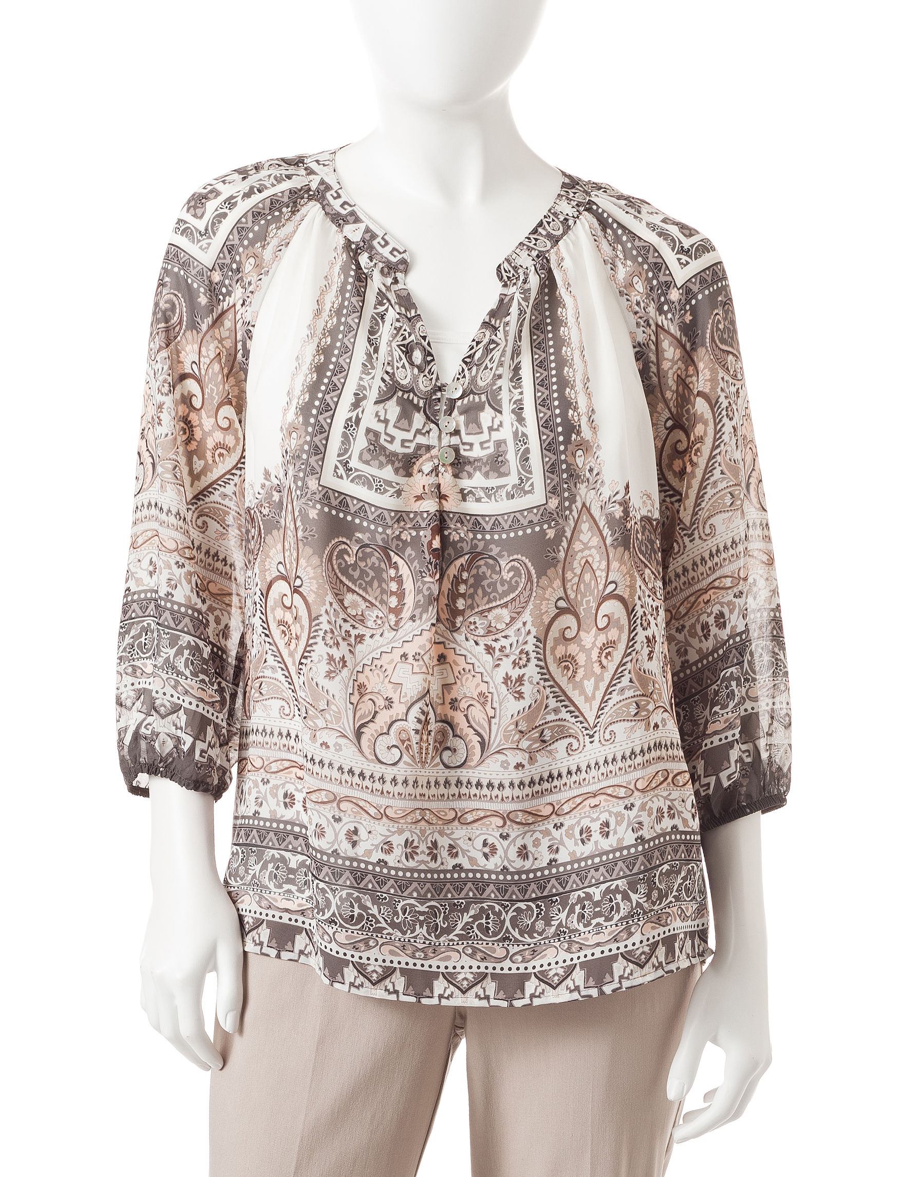 Valerie Stevens White / Grey Shirts & Blouses