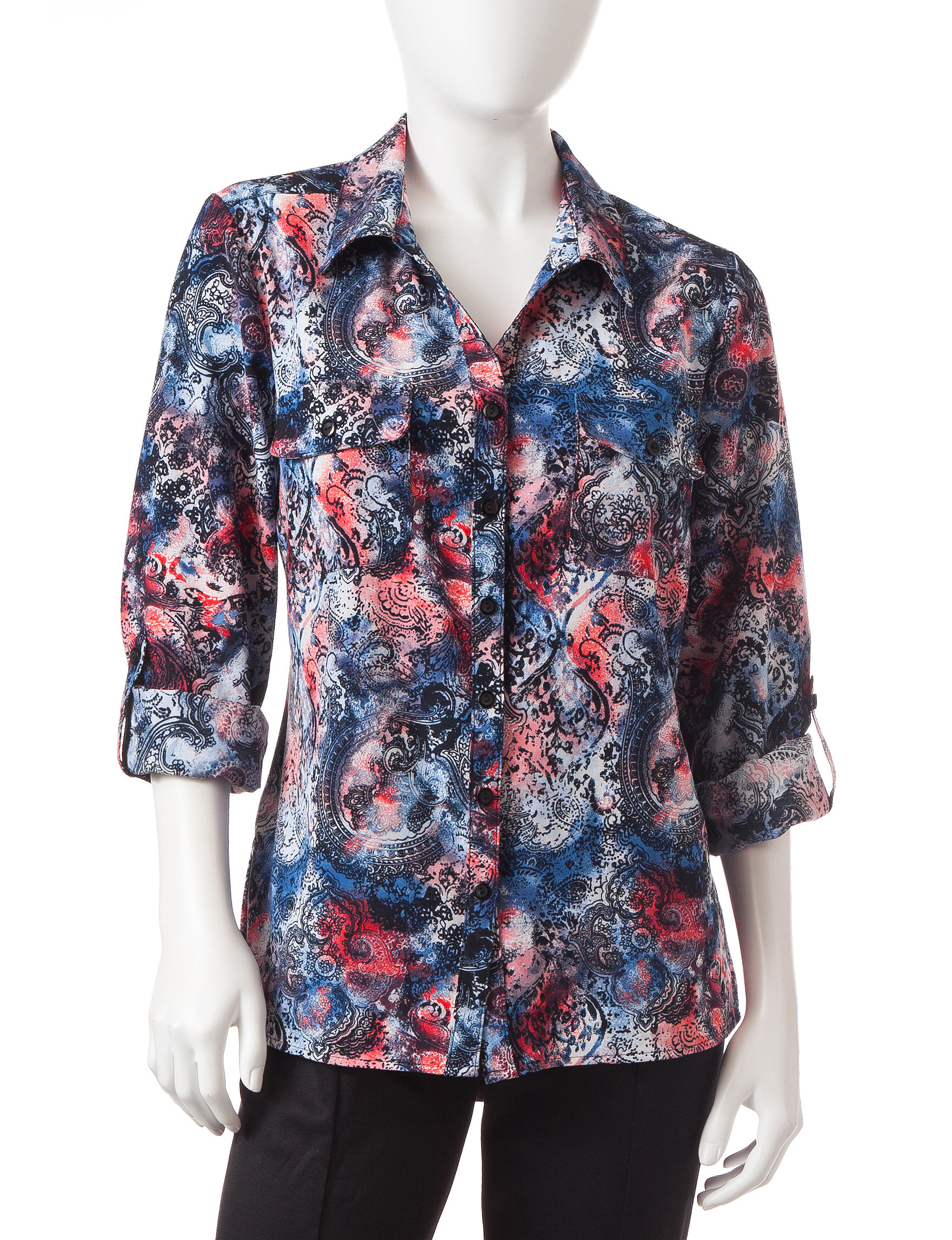 NY Collection Coral Shirts & Blouses