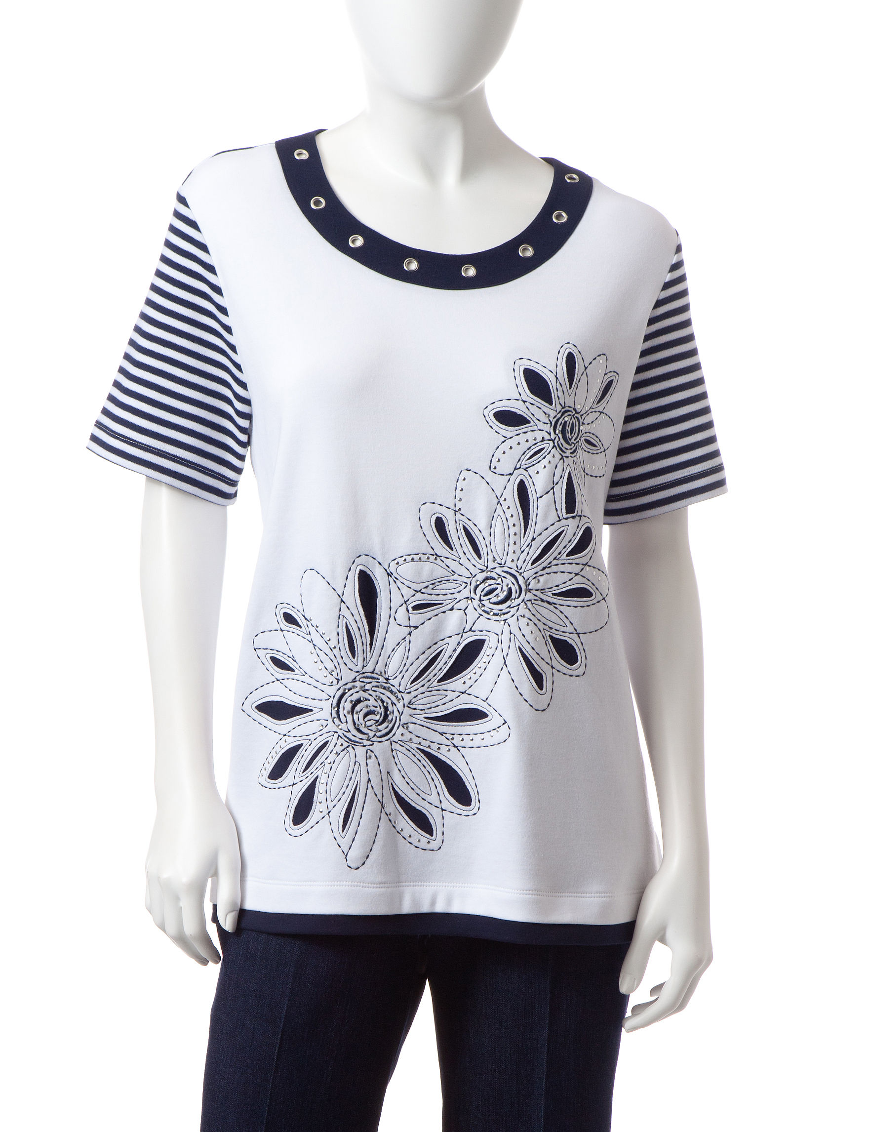 Alfred Dunner Black / White Tees & Tanks