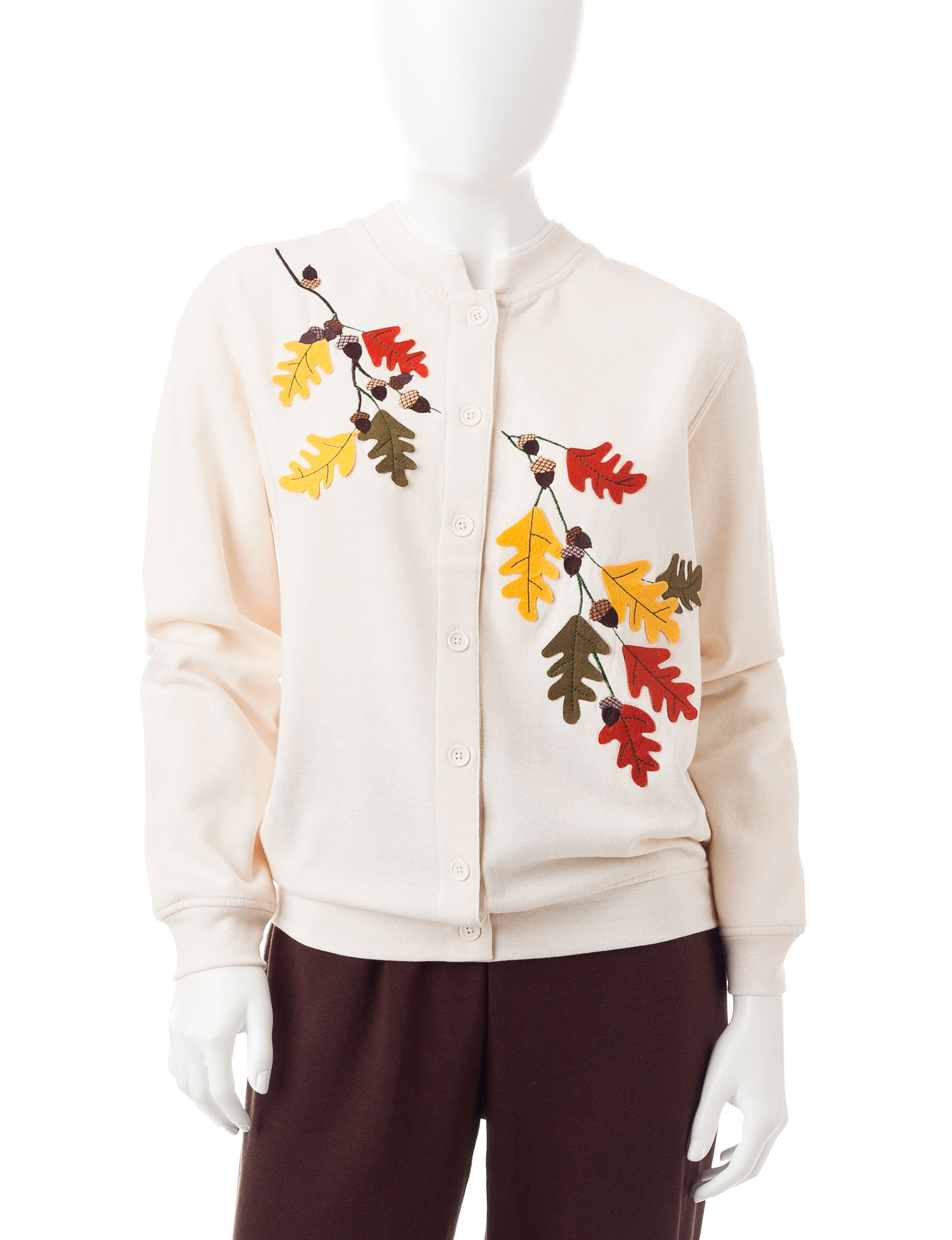 Rebecca Malone Petite Leaves Fleece Cardigan | Stage Stores