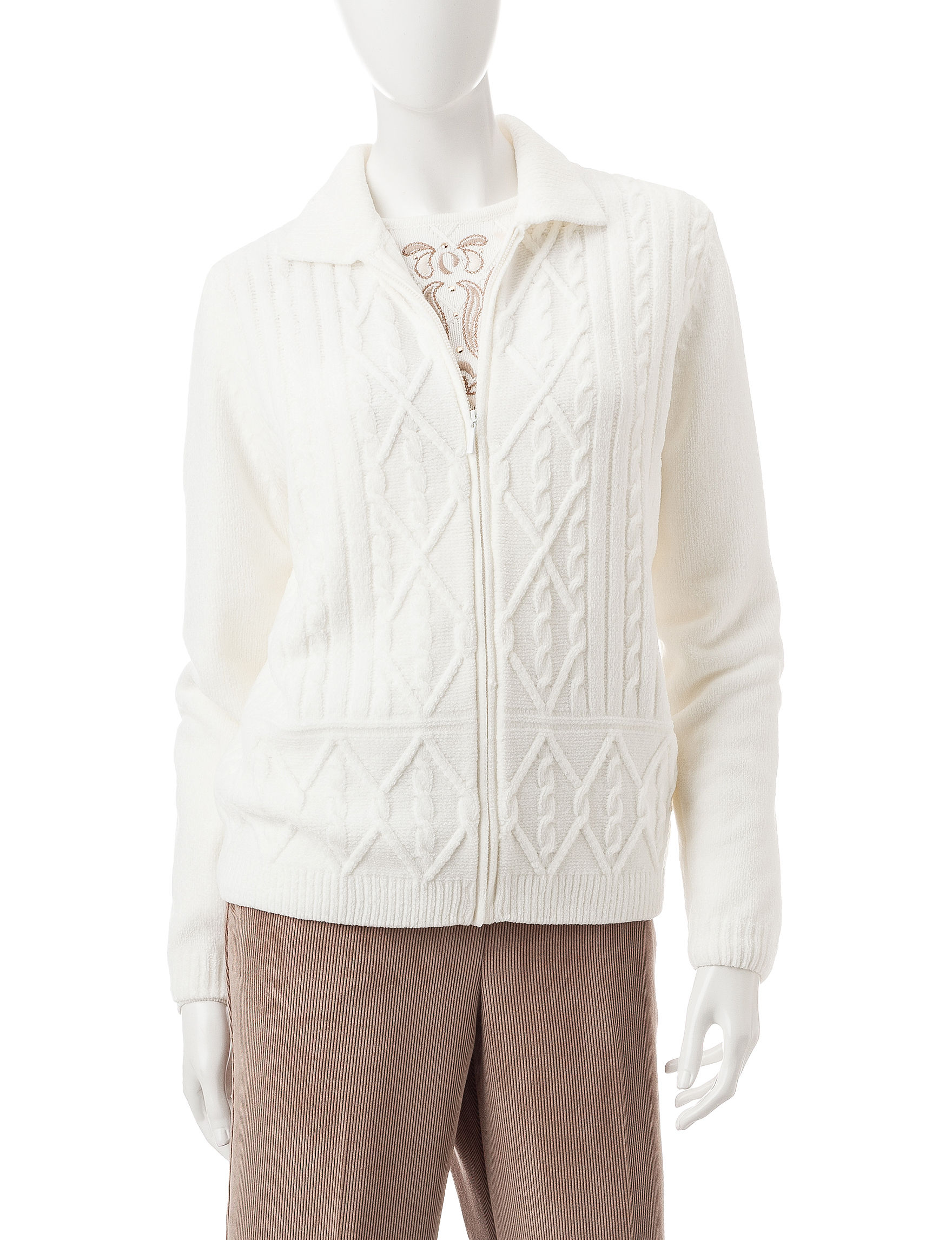 Alfred Dunner Ivory Cardigans