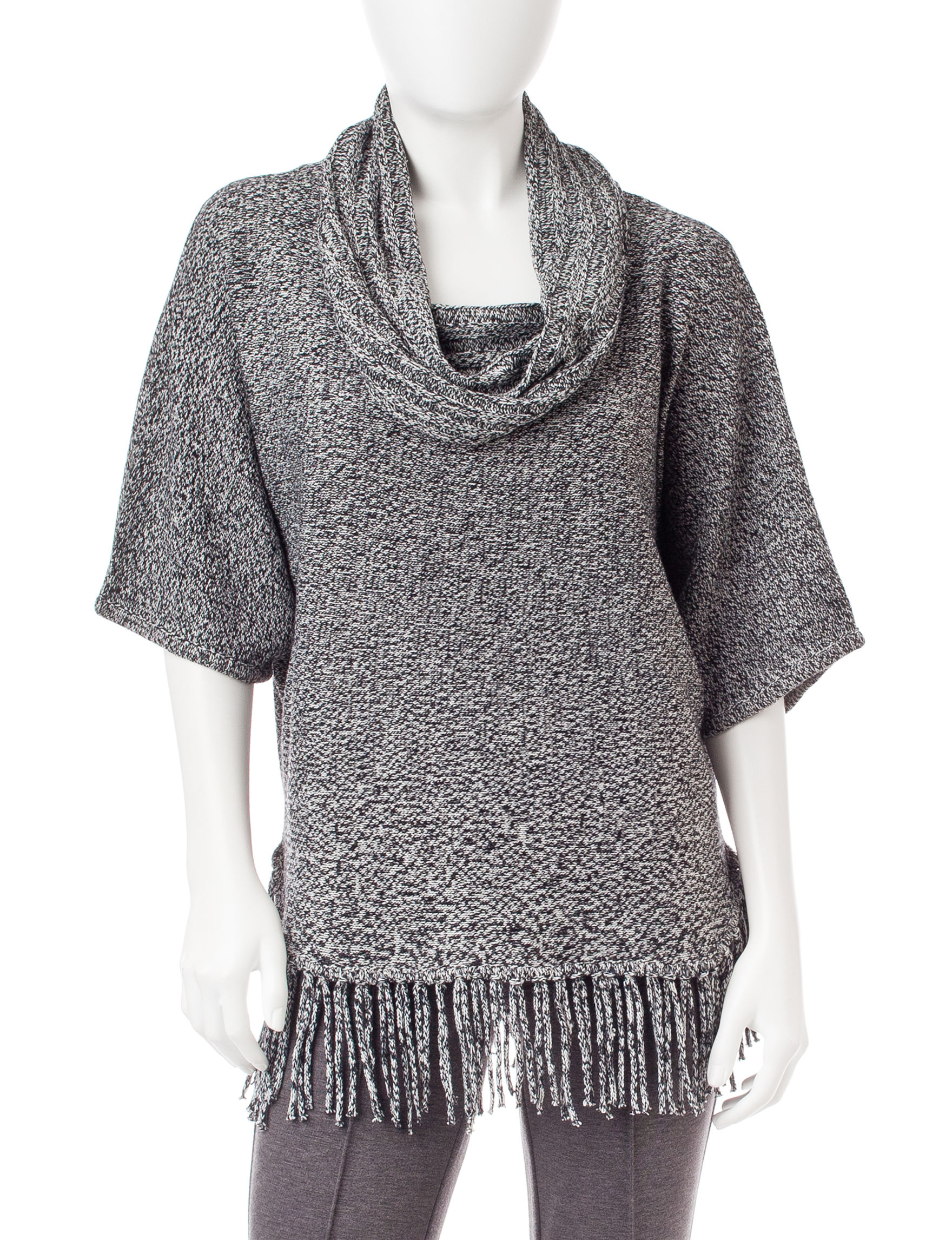 NY Collection Grey Ponchos Pull-overs