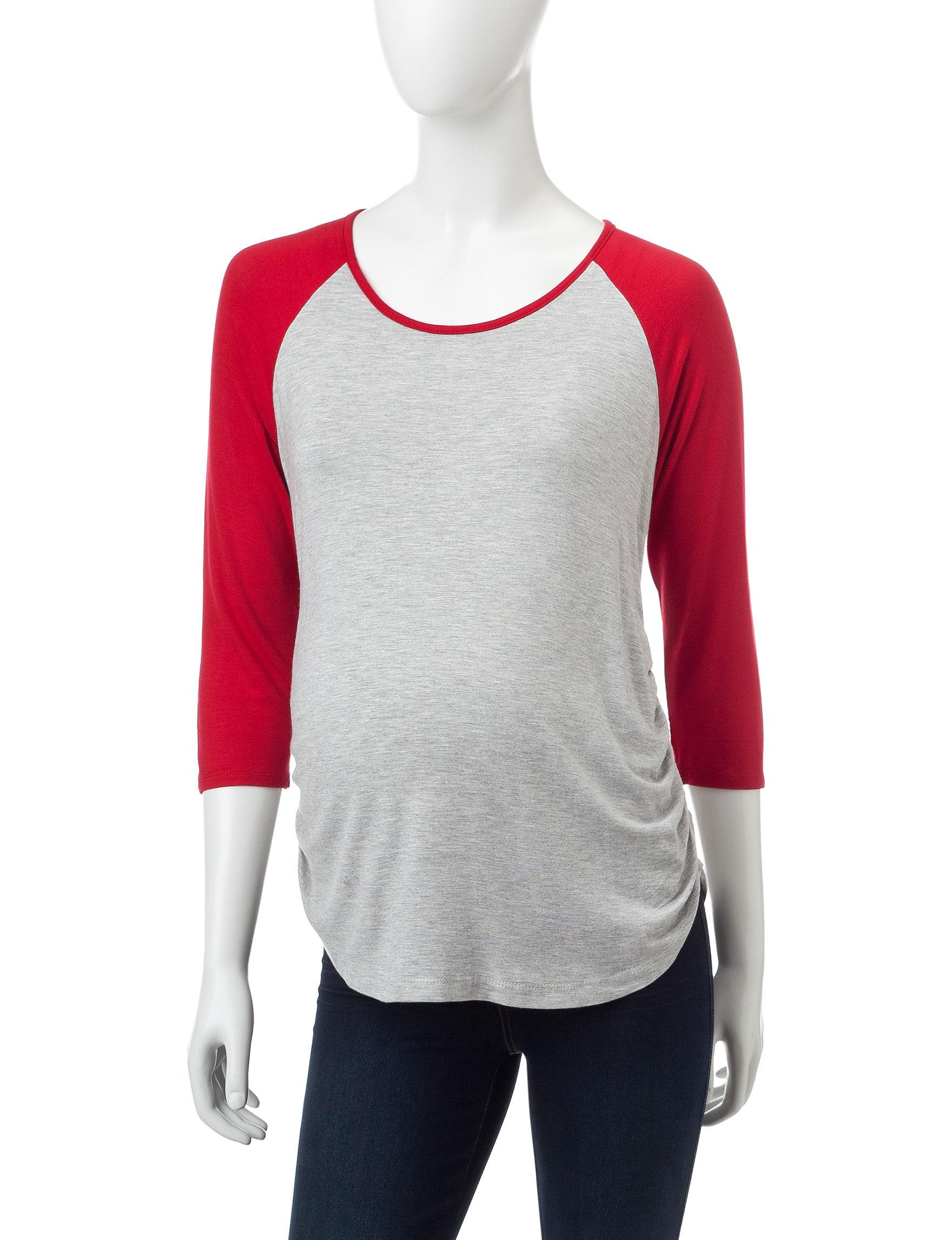 Three Season Maternity Grey / Red Shirts & Blouses