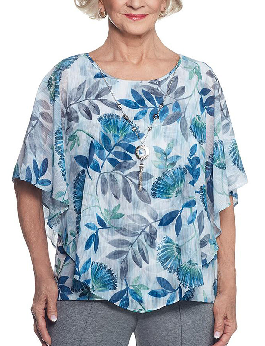 Alfred Dunner Blue Multi Shirts & Blouses