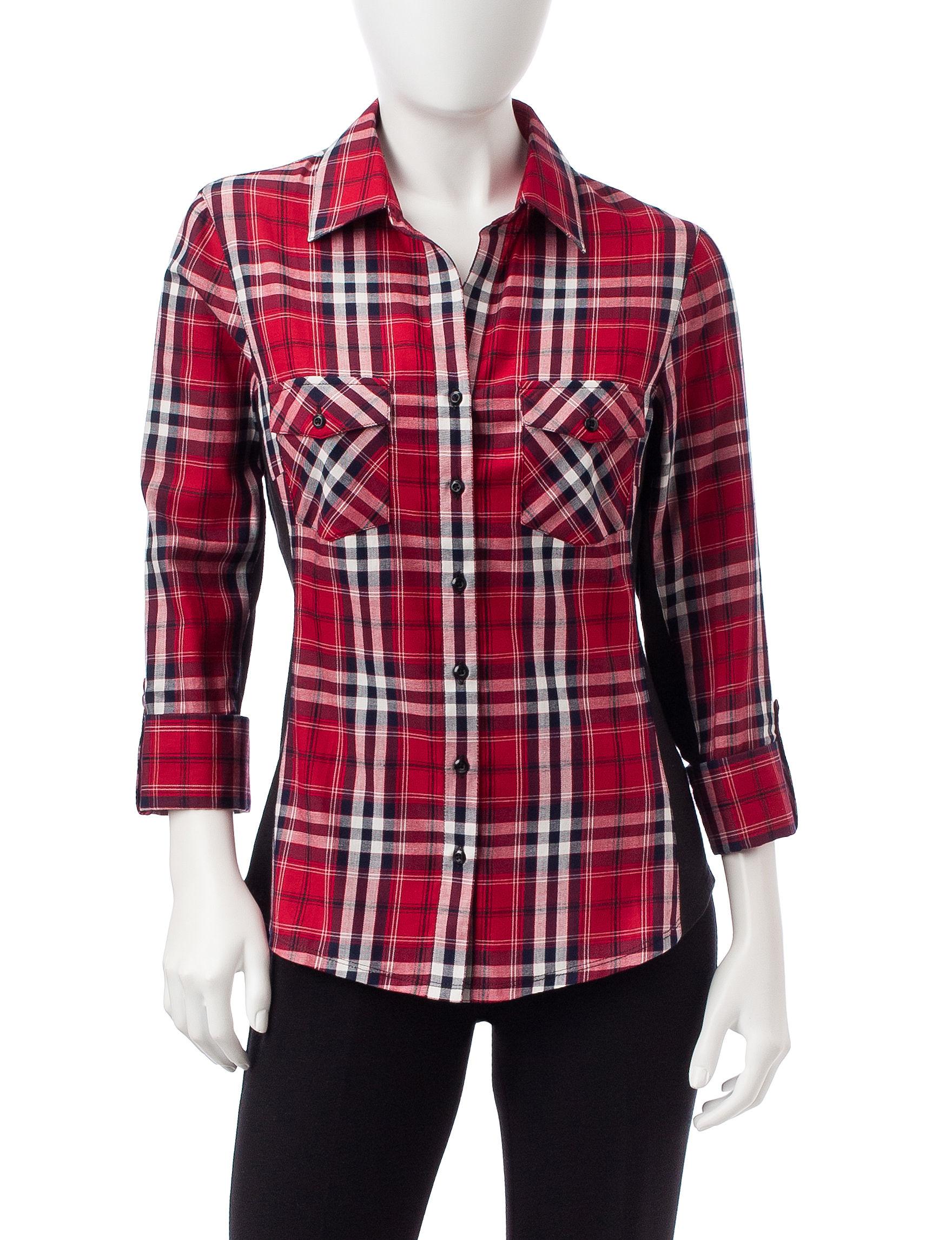 Zac & Rachel Red Multi Shirts & Blouses