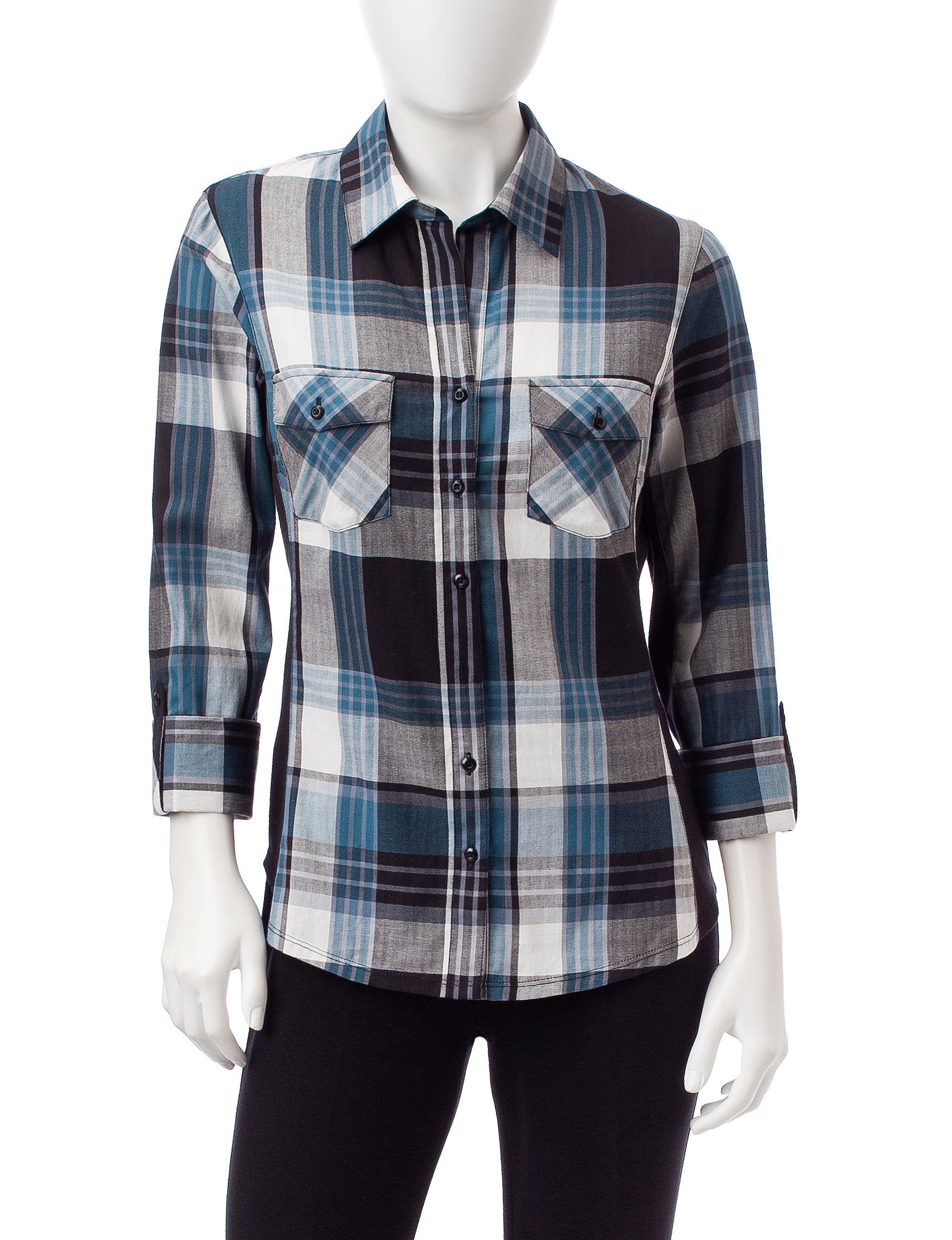 Zac & Rachel Black Multi Shirts & Blouses
