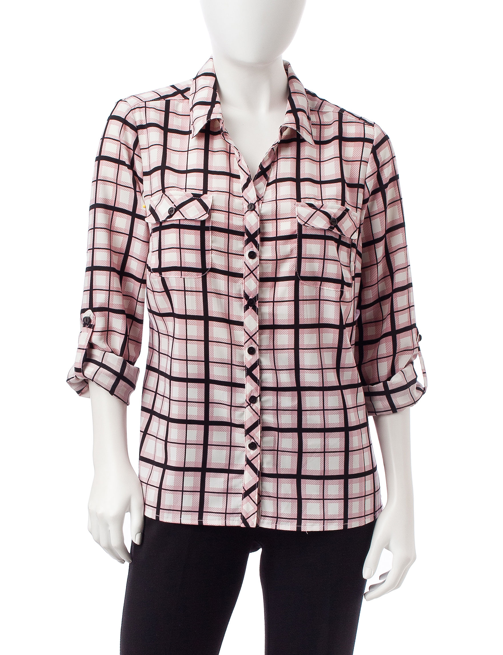 NY Collection Pink Multi Shirts & Blouses
