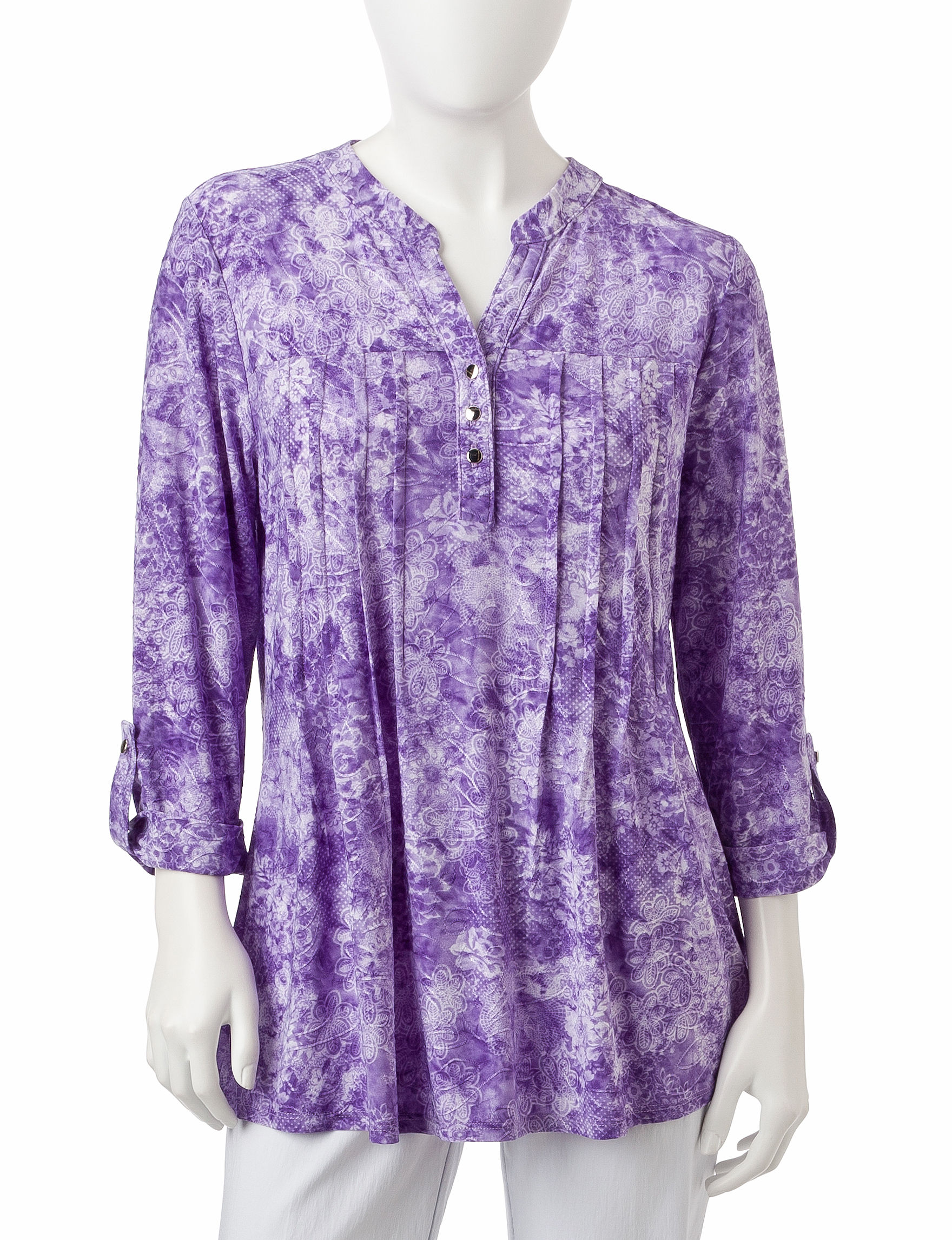 NY Collection Purple Shirts & Blouses
