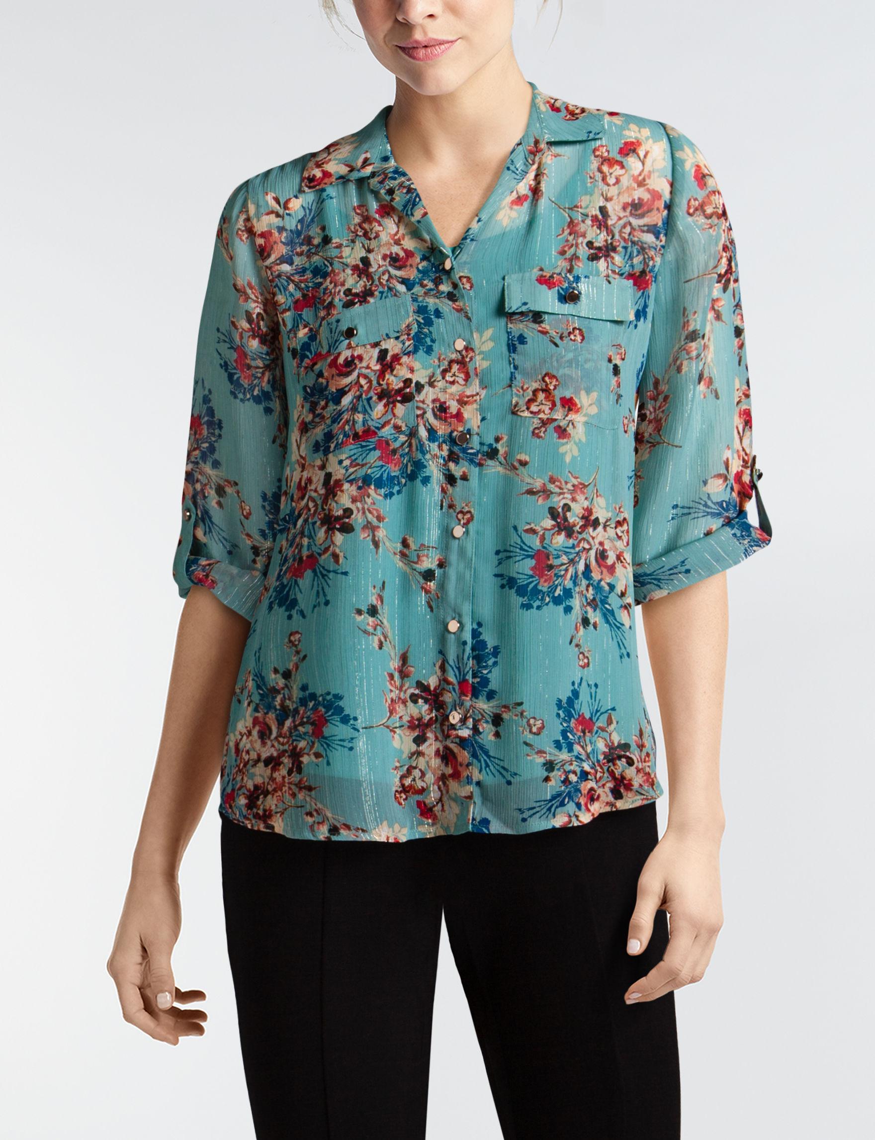 Sara Michelle Blue Floral Shirts & Blouses