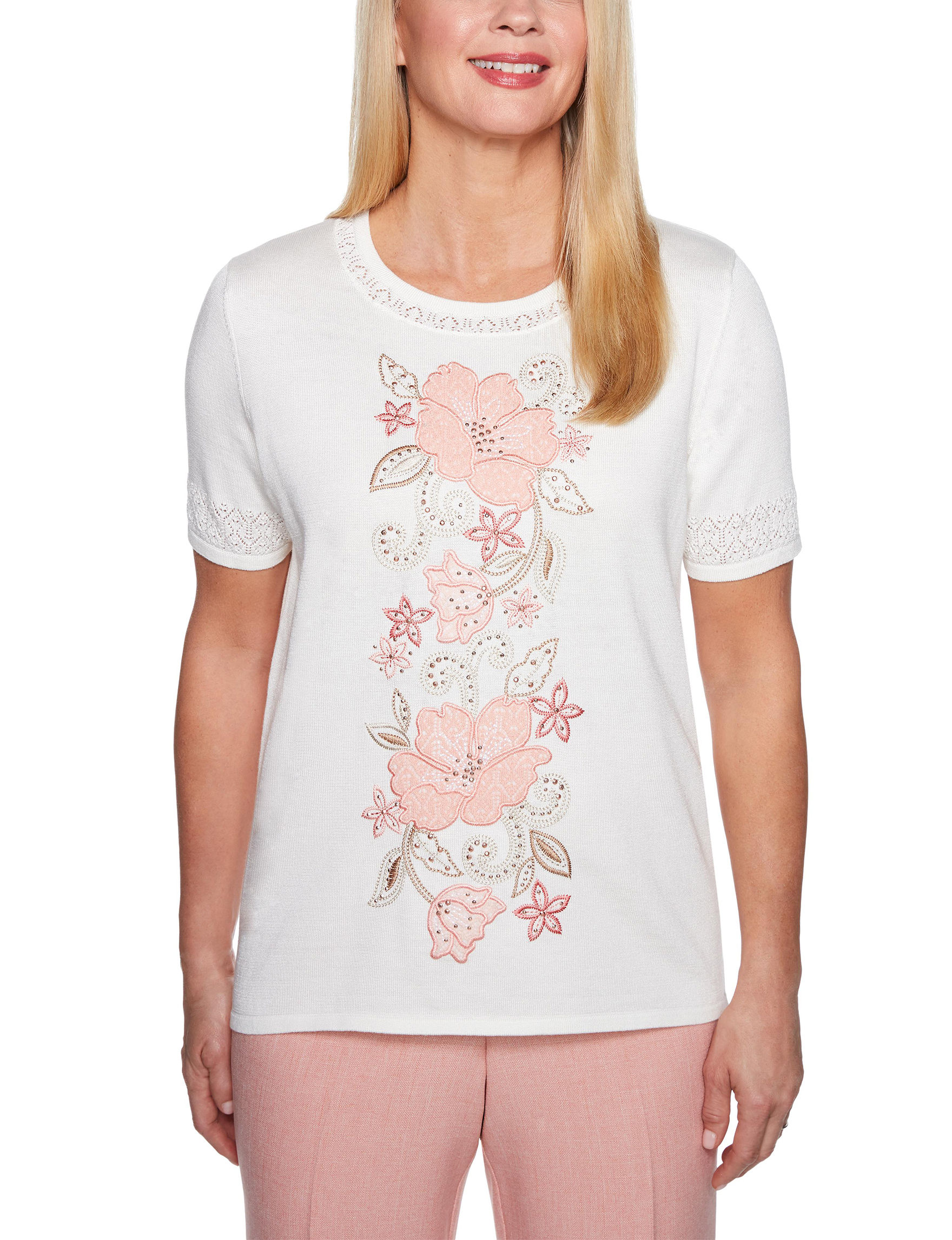 Alfred Dunner Ivory Floral Pull-overs