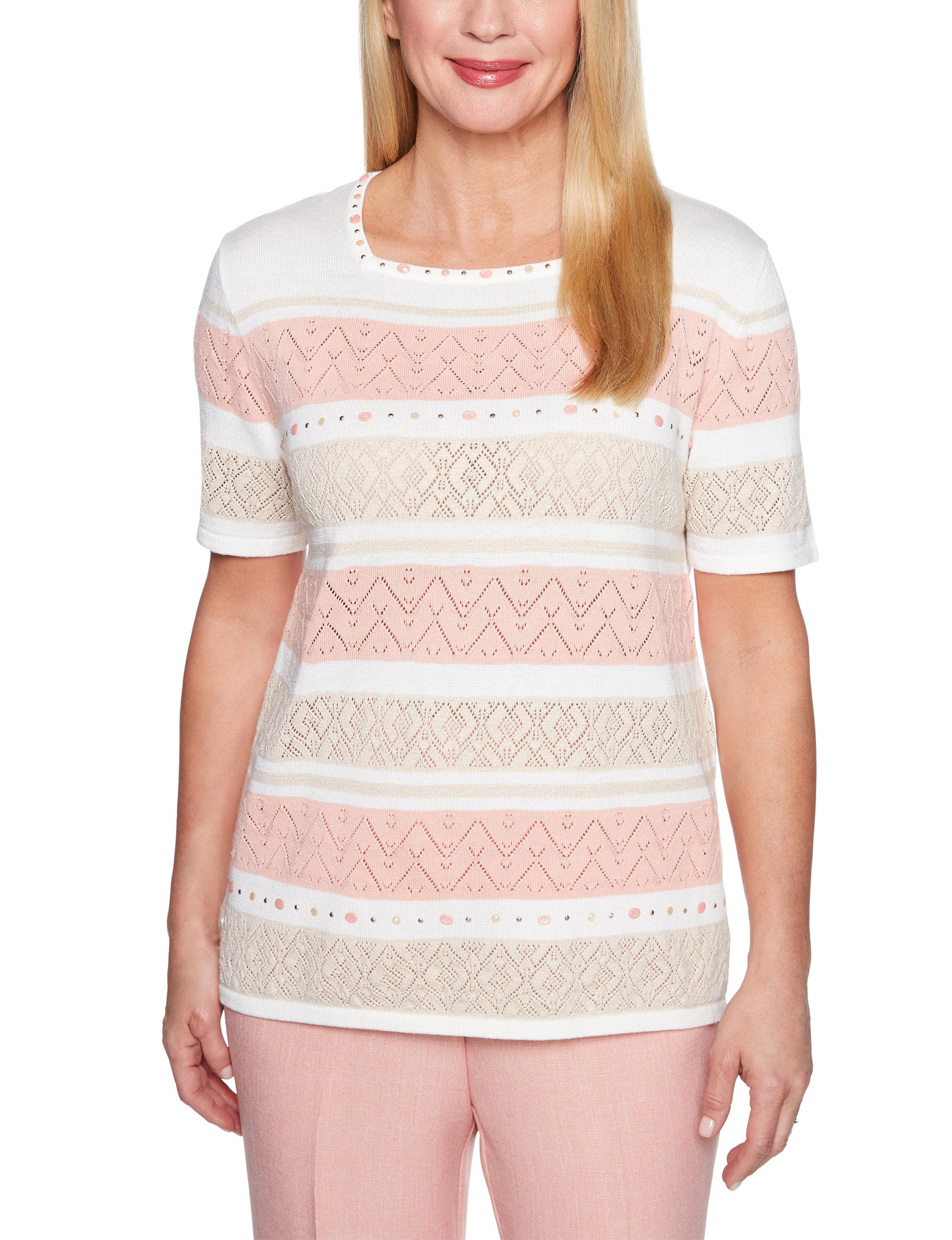 Alfred Dunner White/Pink/Beige