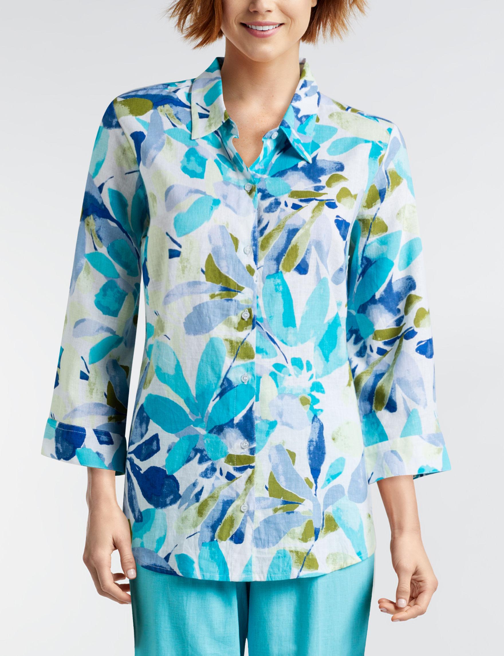 Cathy Daniels Blue Multi Shirts & Blouses
