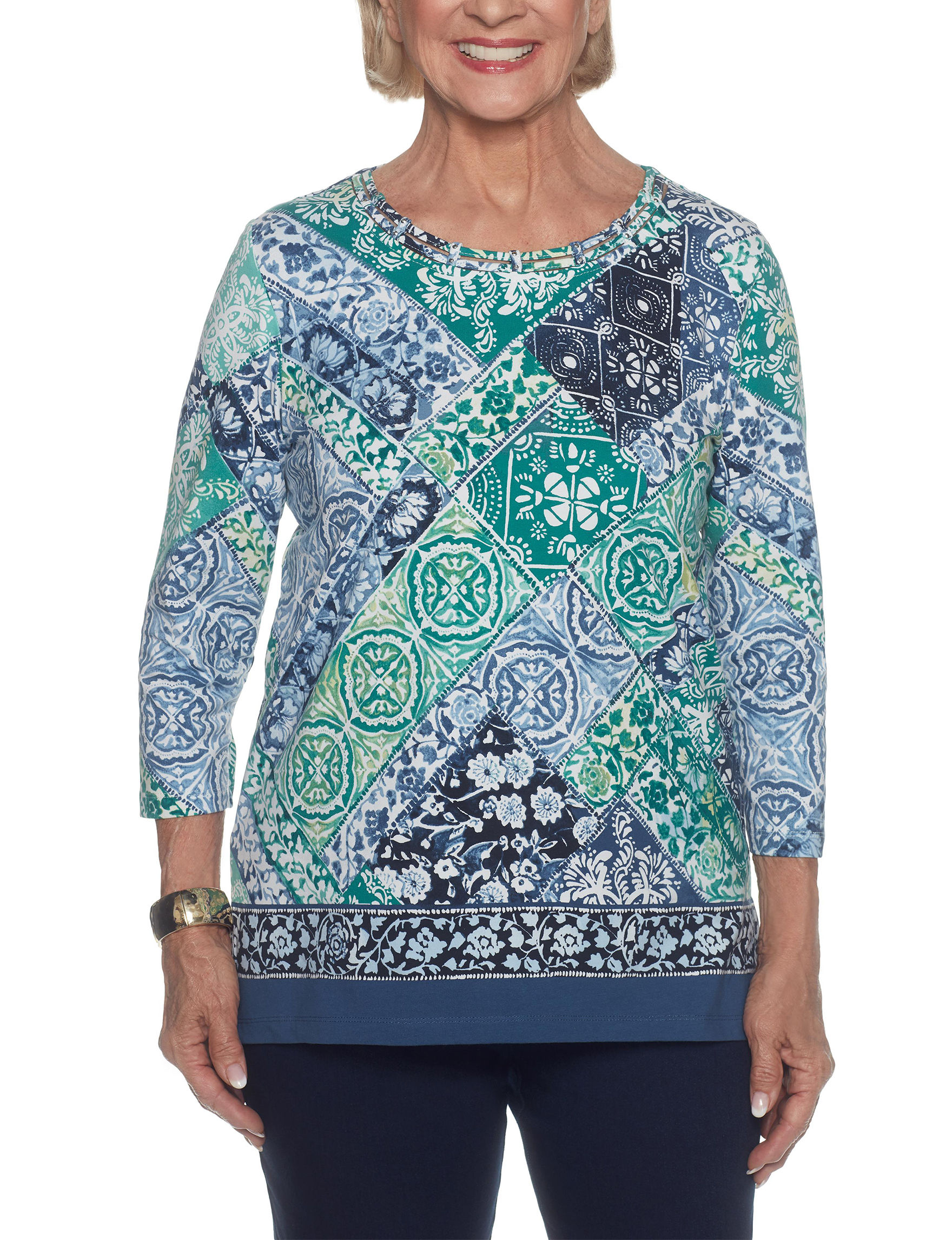 Alfred Dunner Turquoise Multi