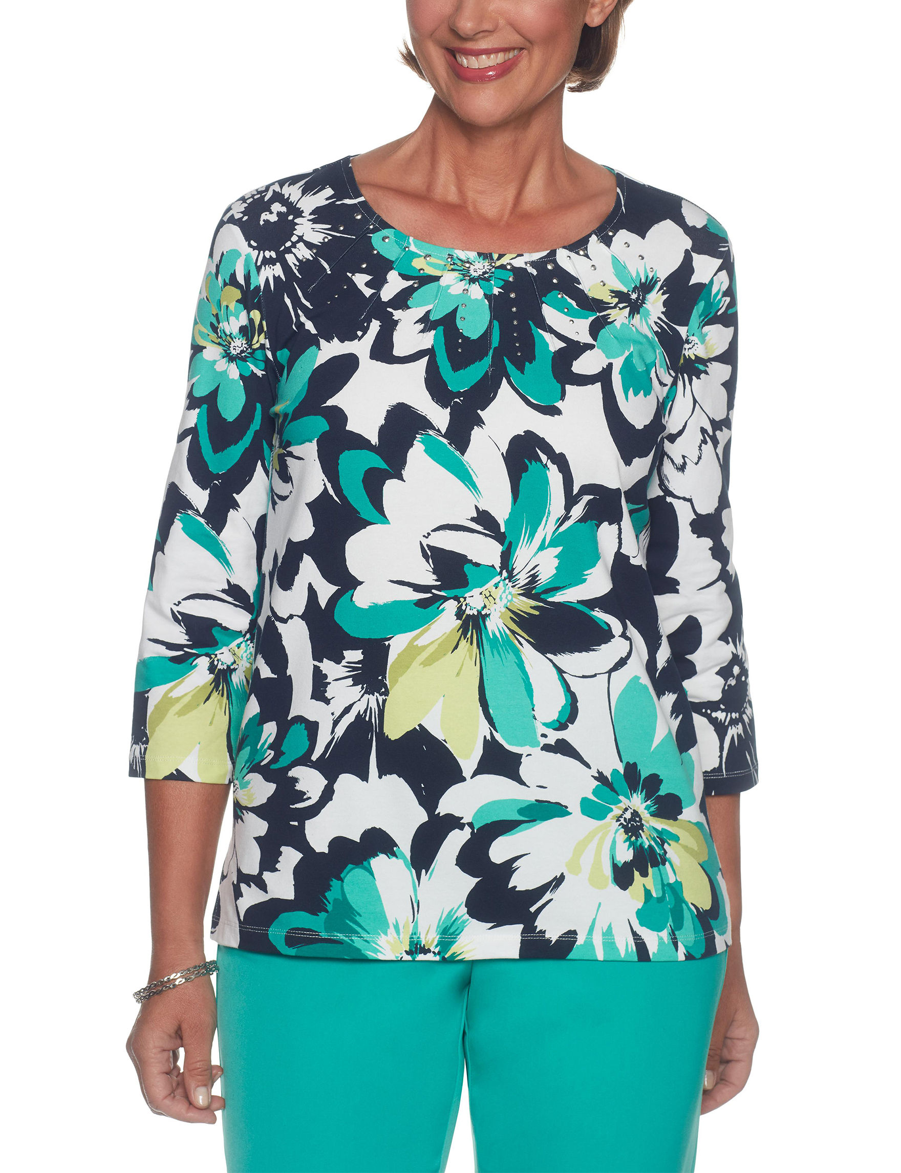 Alfred Dunner Turquoise Multi Pull-overs