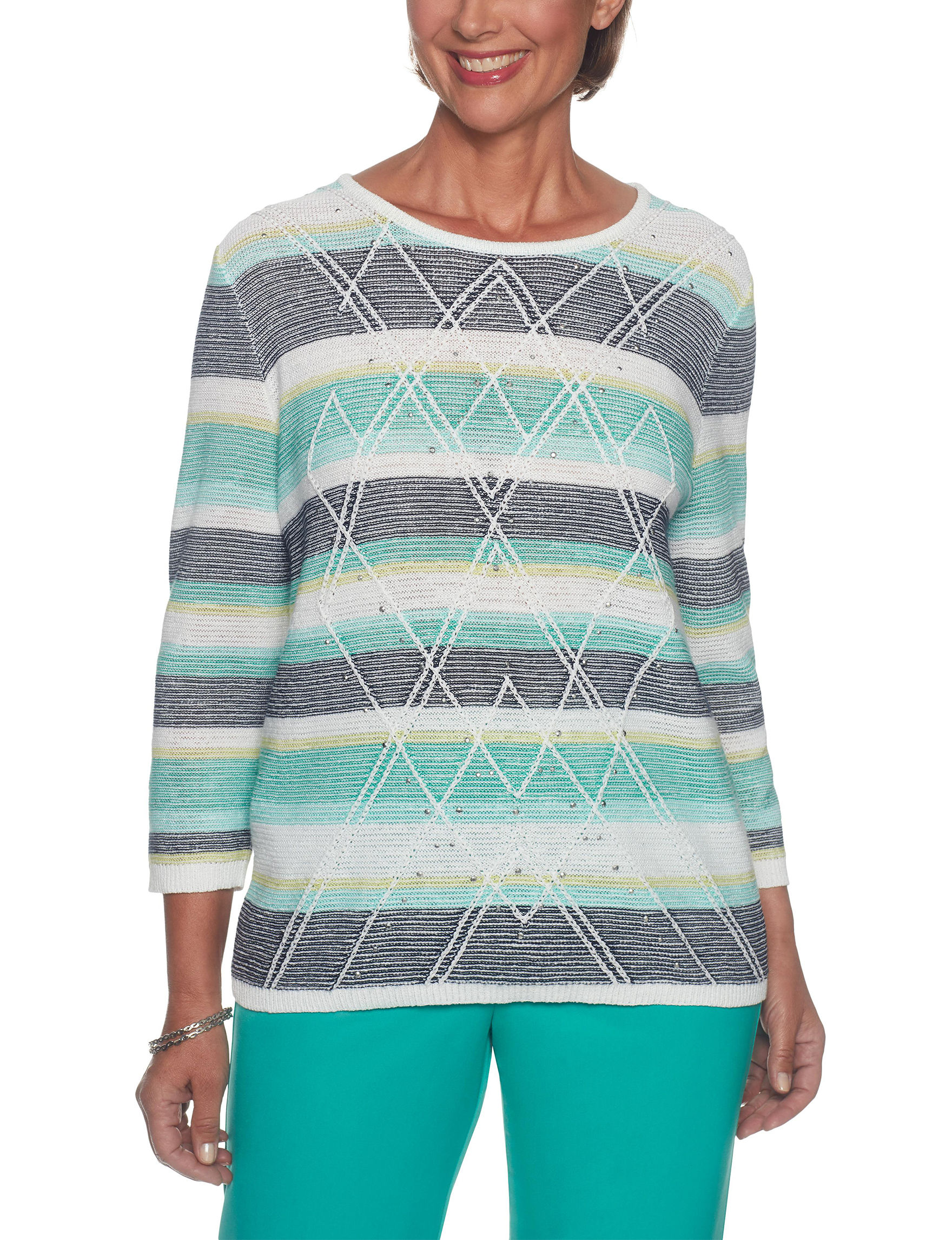 Alfred Dunner Navy Stripe Pull-overs