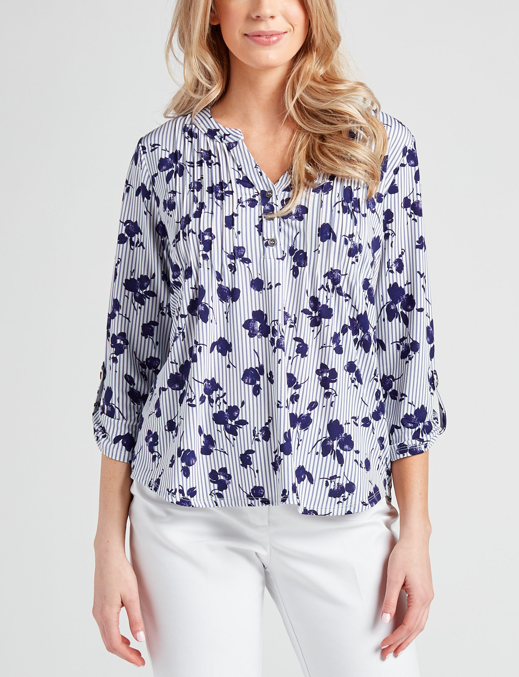 NY Collection Stripe / Floral Shirts & Blouses