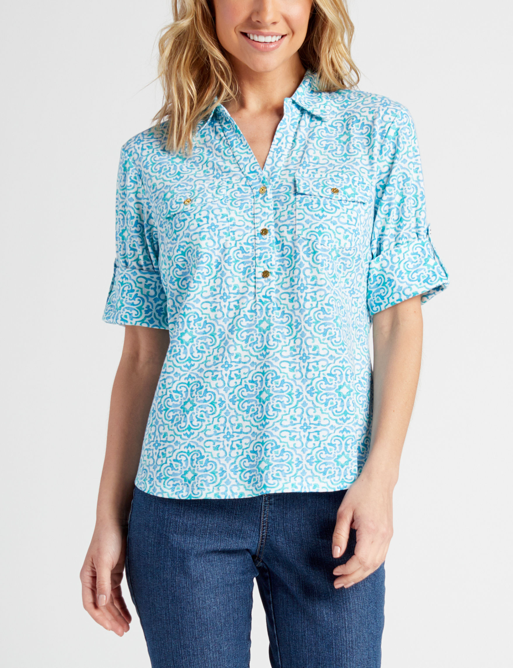 Cathy Daniels Blue Shirts & Blouses