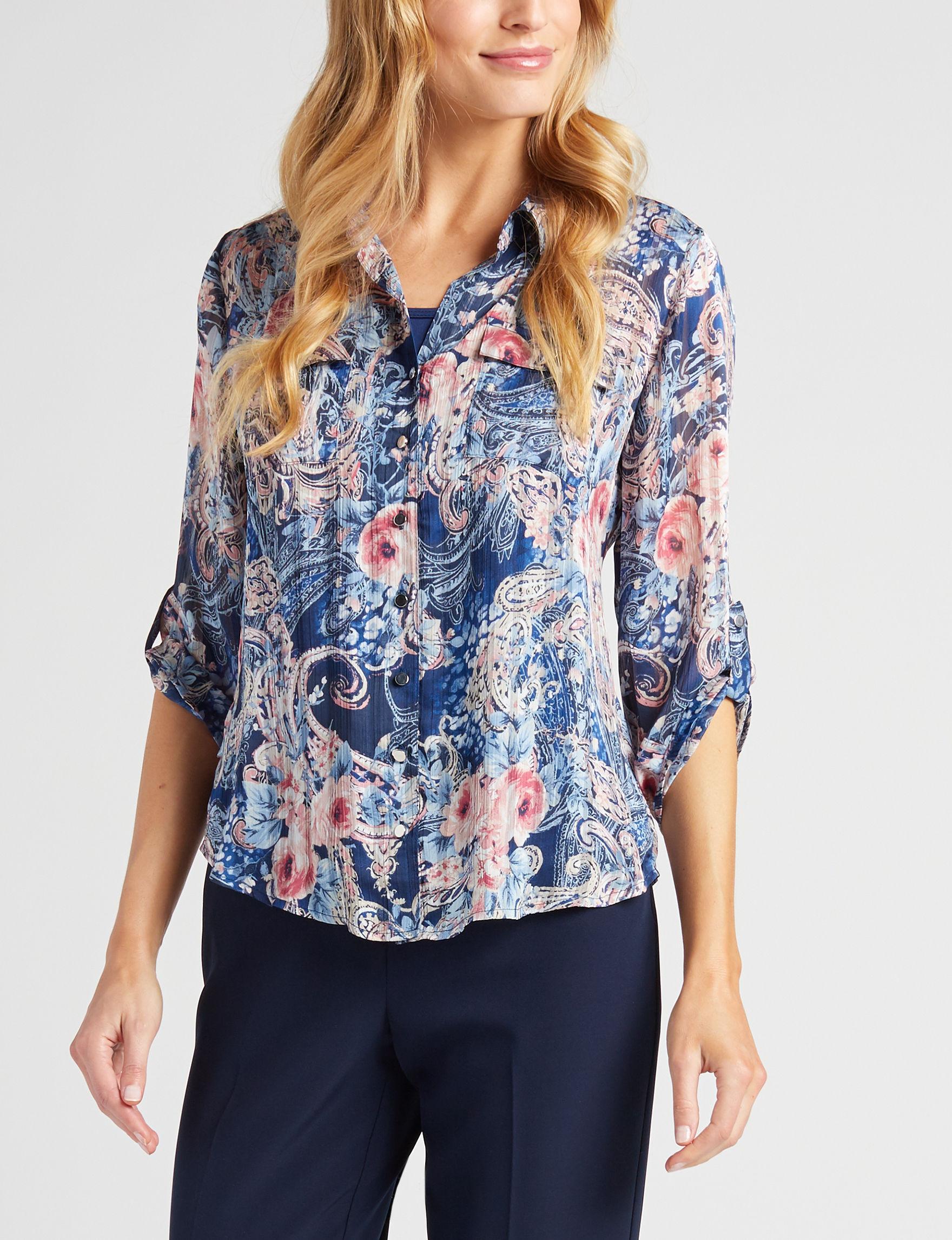 Sara Michelle Navy / Pink Shirts & Blouses