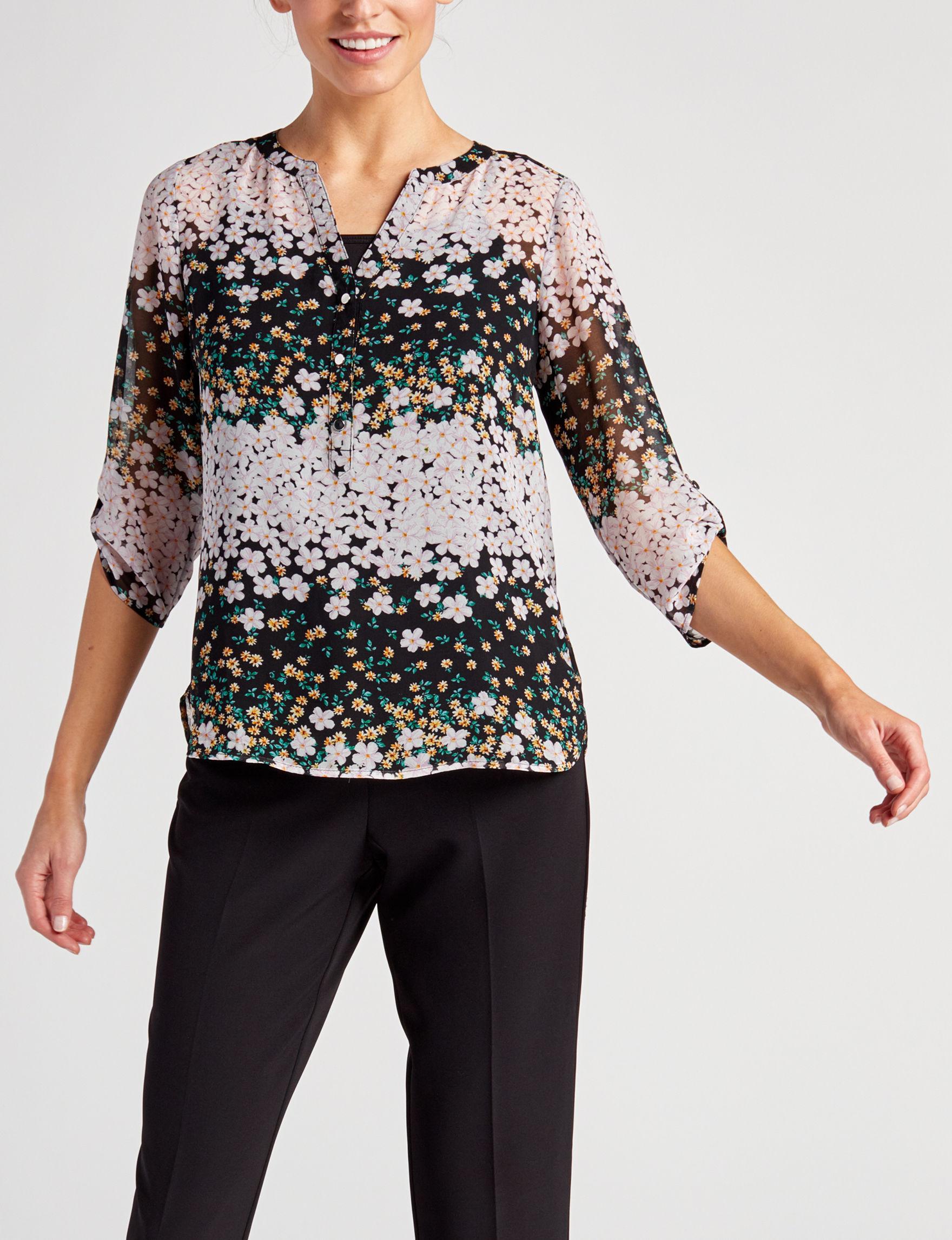Sara Michelle Black Floral Shirts & Blouses