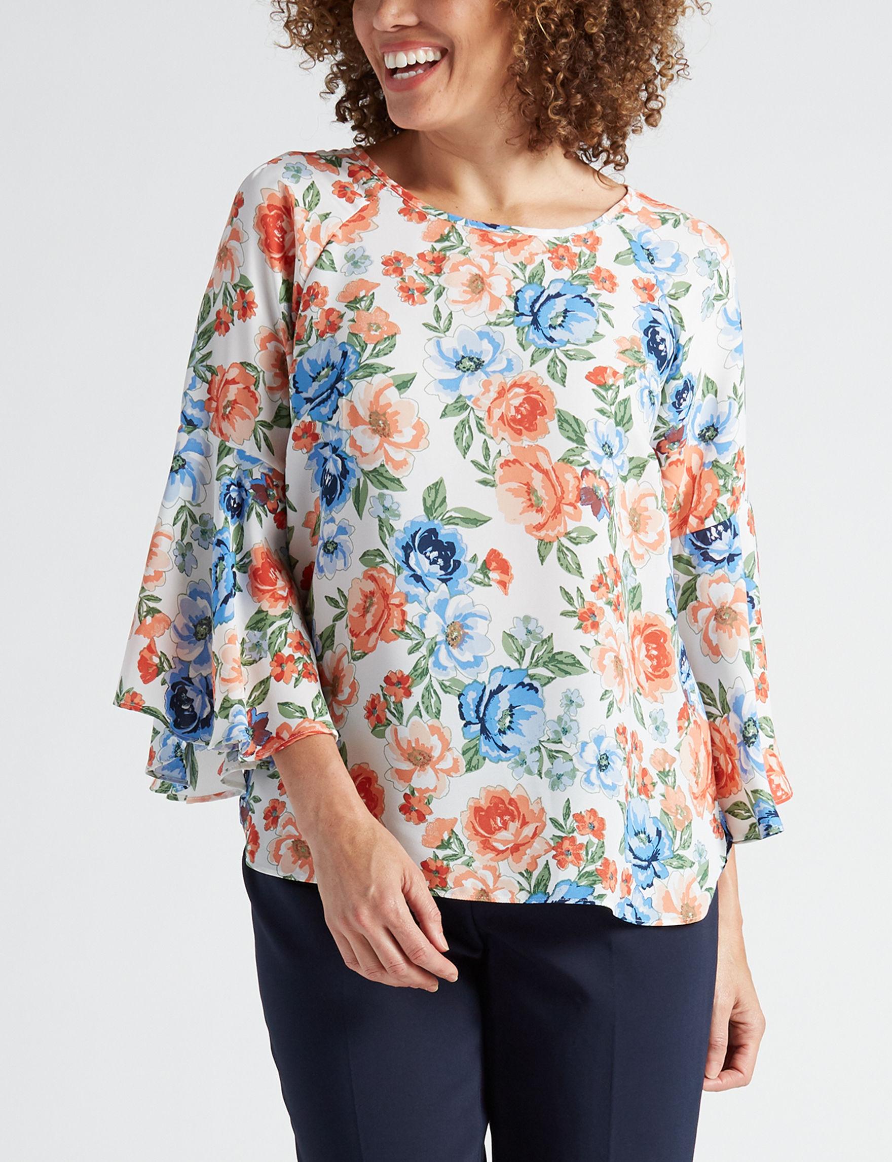 Zac & Rachel Coral Floral Shirts & Blouses