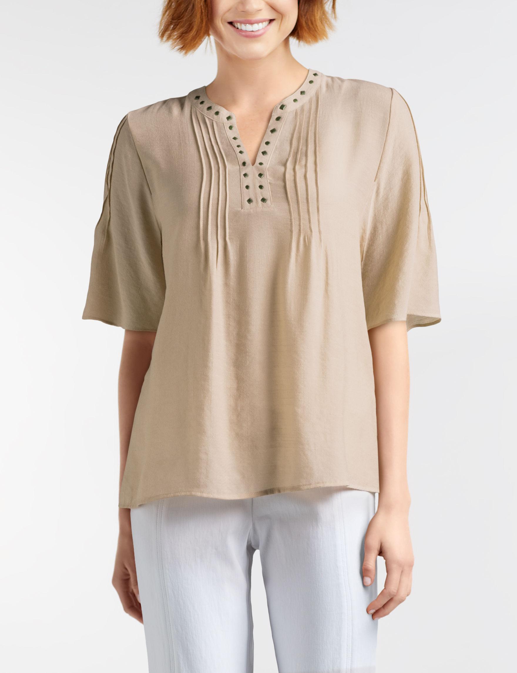 NY Collection Khaki Shirts & Blouses