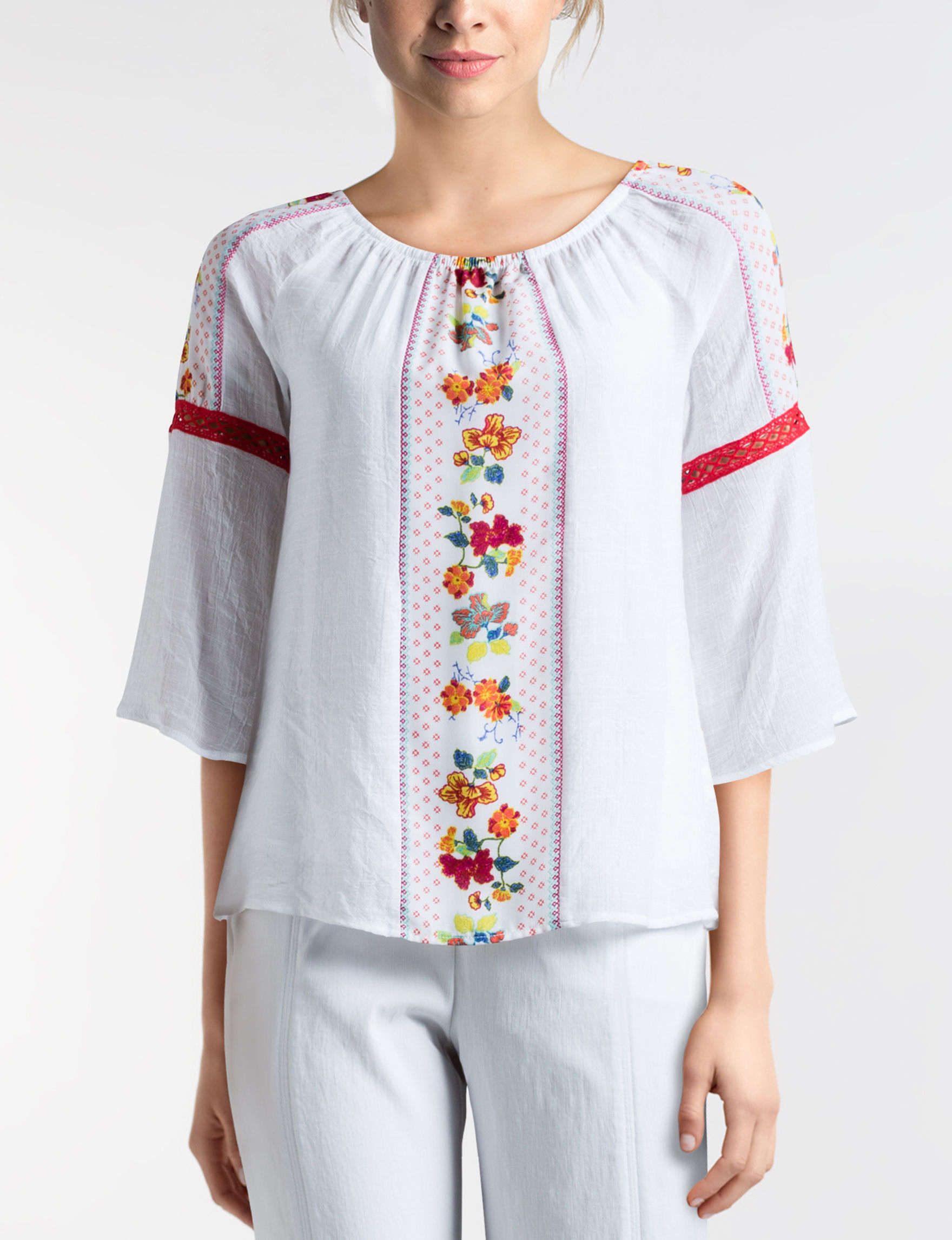 Figuero & Flower White / Red Shirts & Blouses