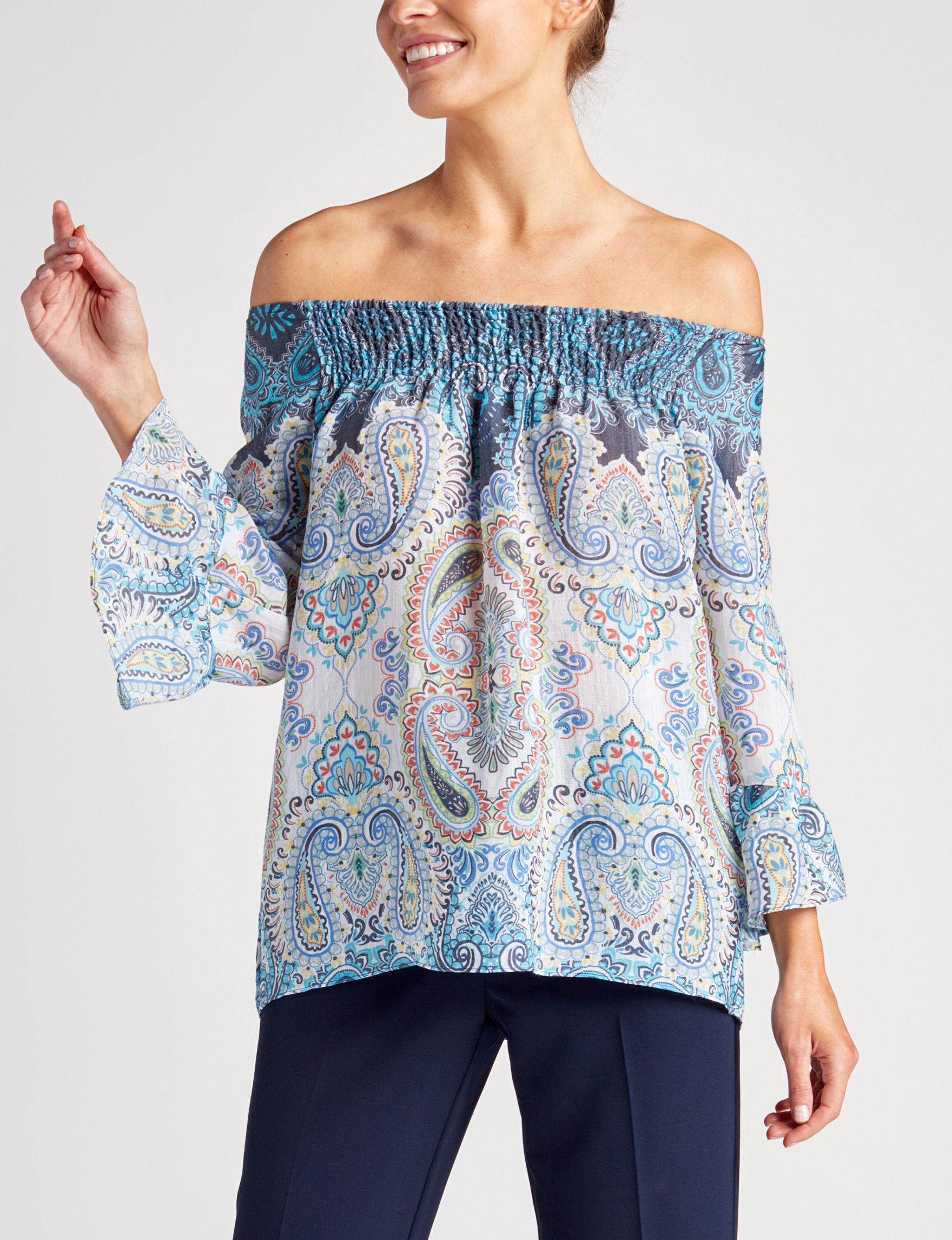 Zac & Rachel Blue Multi Shirts & Blouses