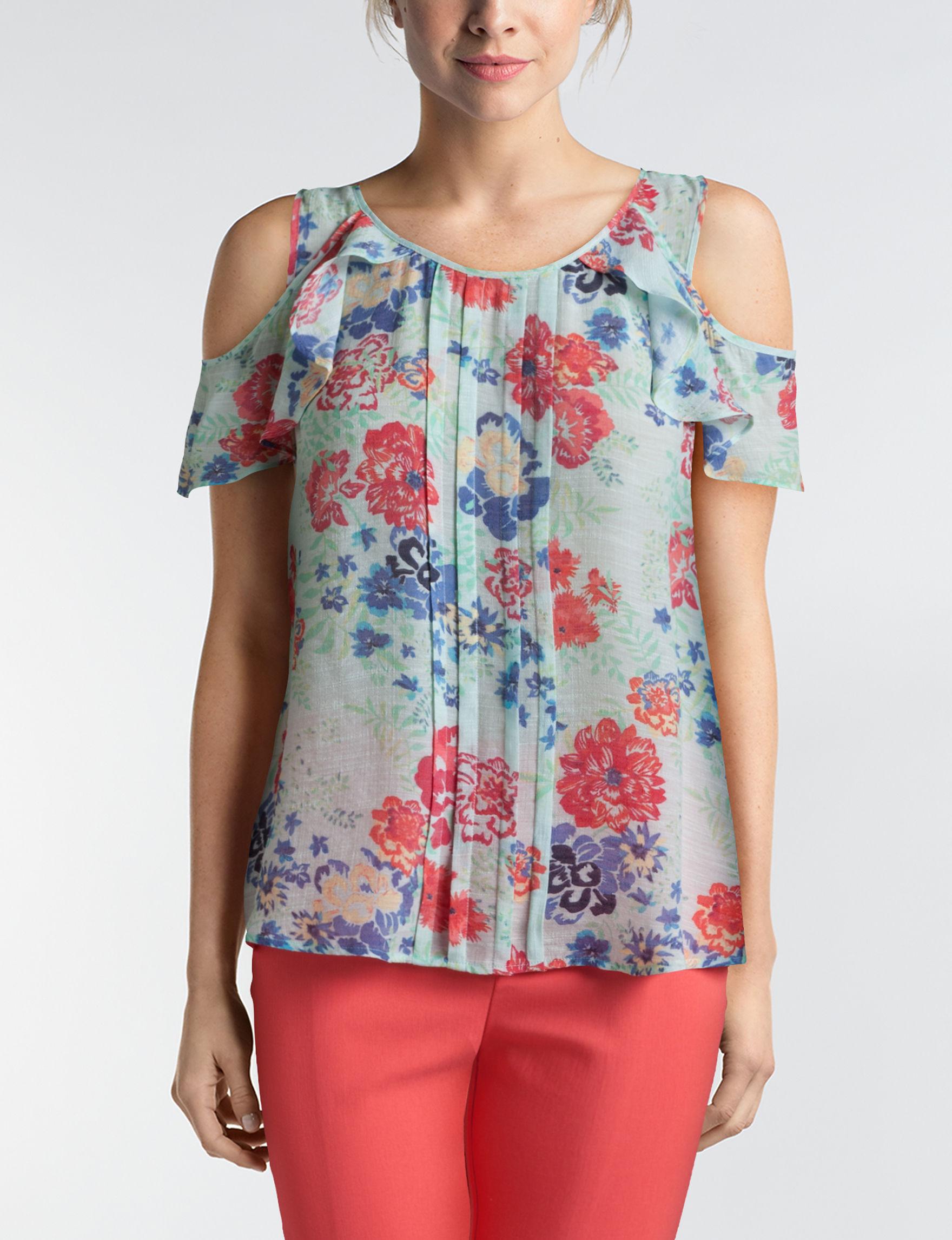 Zac & Rachel Aqua Floral Shirts & Blouses