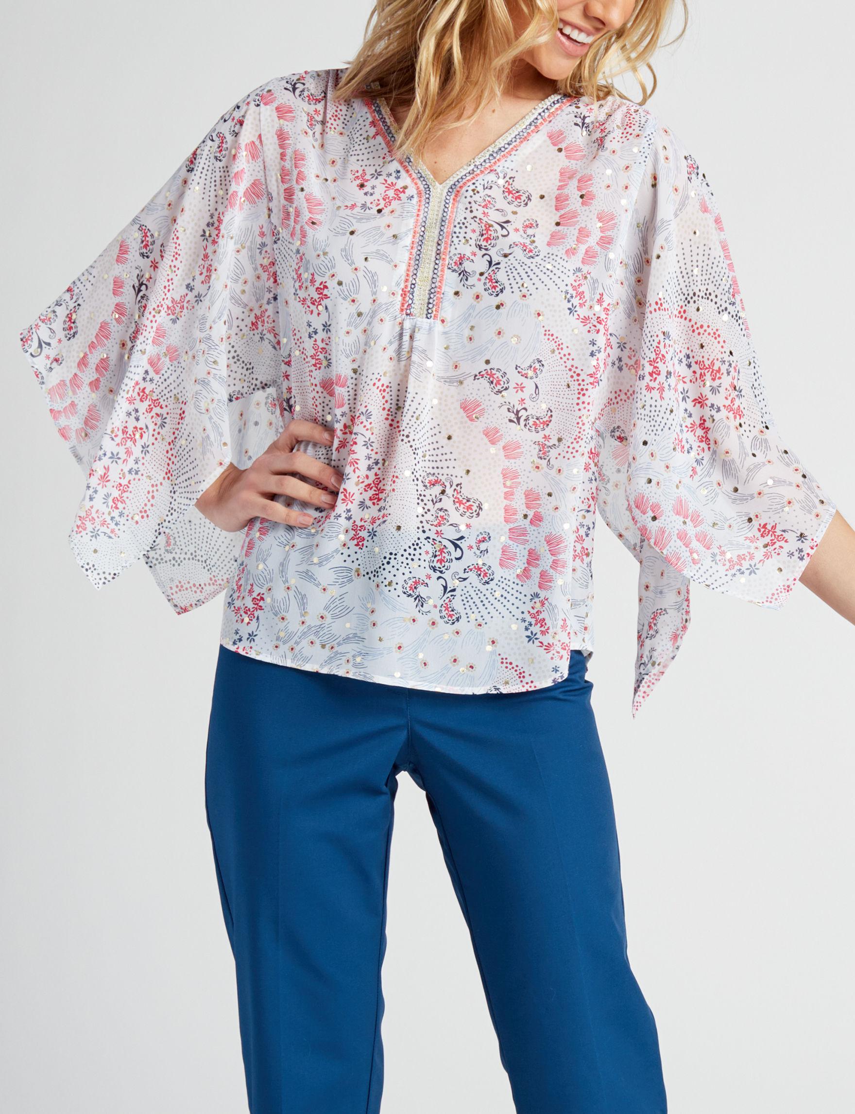 Zac & Rachel White Multi Shirts & Blouses