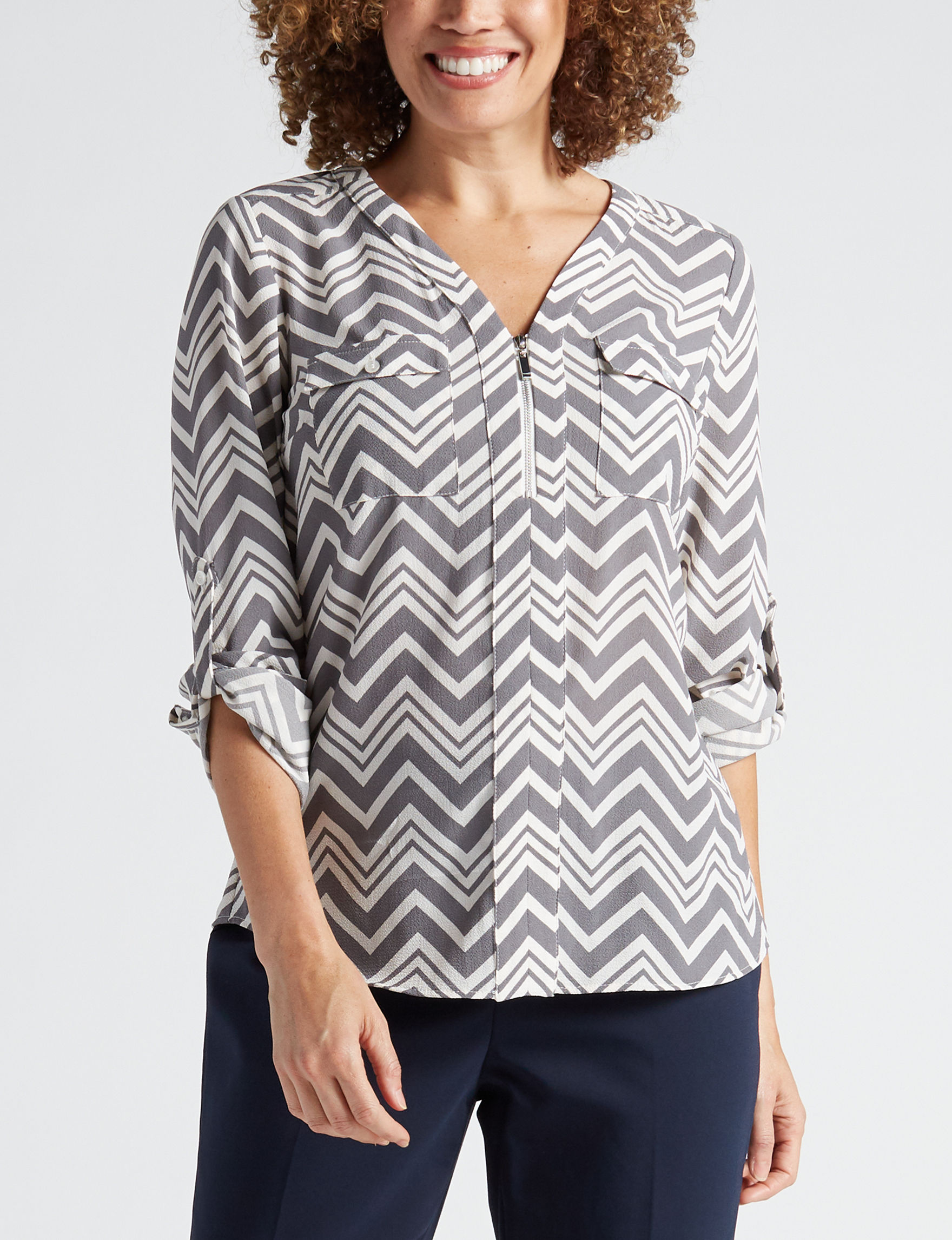 NY Collection Grey Shirts & Blouses
