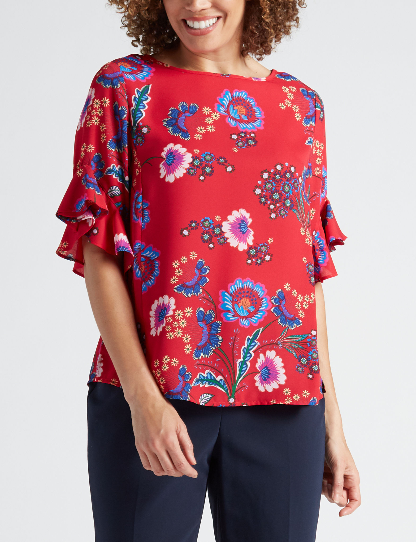 Zac & Rachel Red / Navy Shirts & Blouses