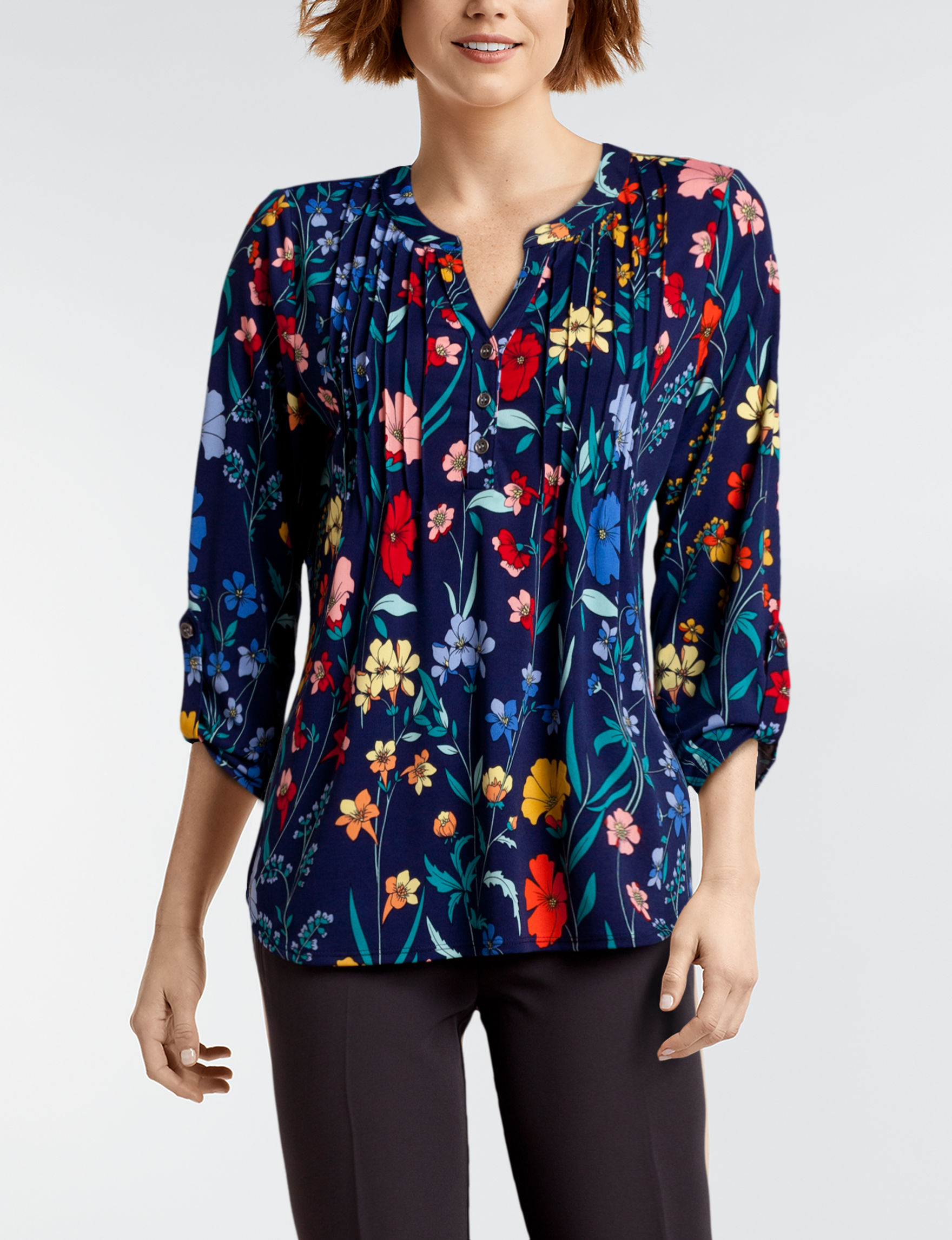 NY Collection Blue Floral Shirts & Blouses
