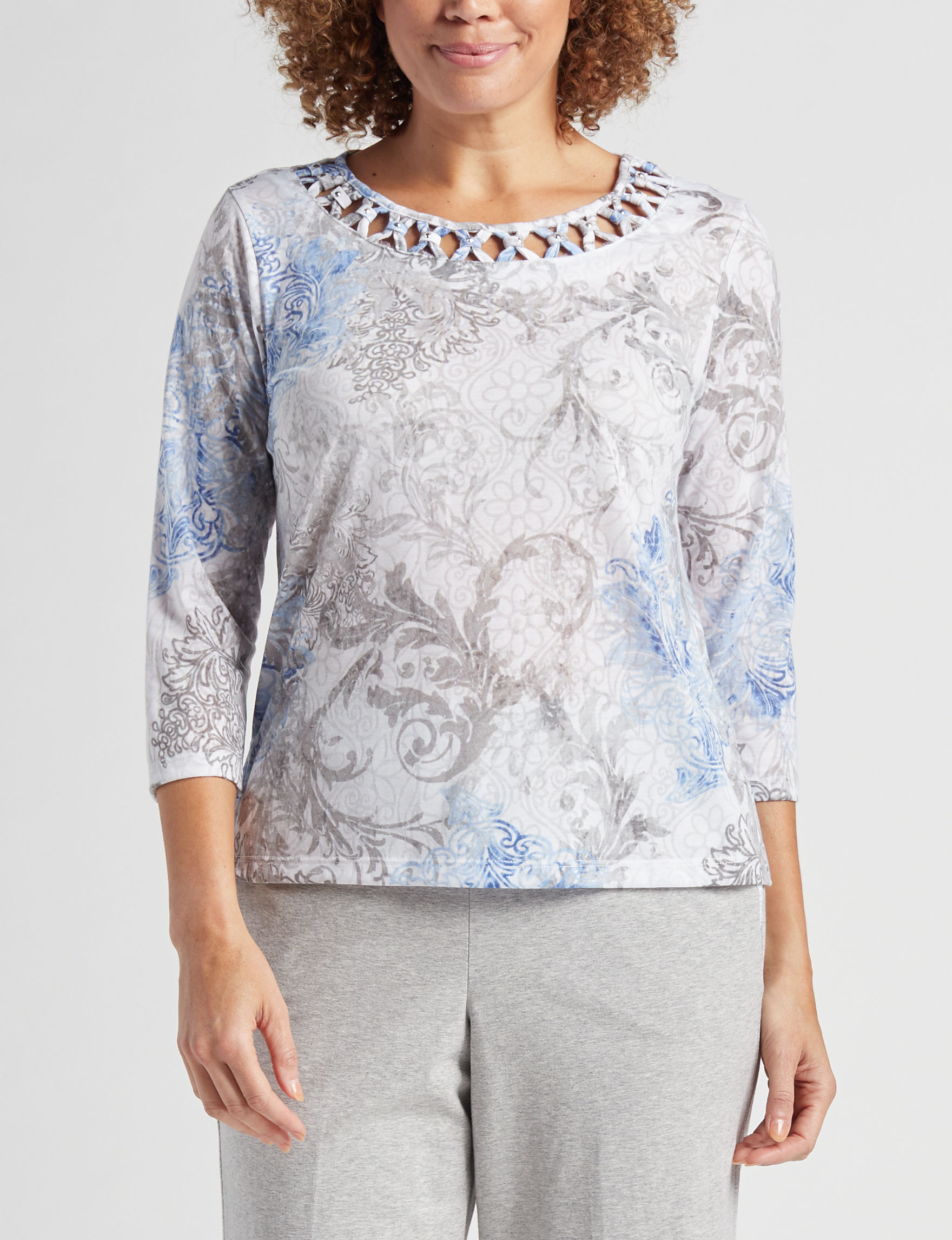 Alfred Dunner Grey / Multi Shirts & Blouses
