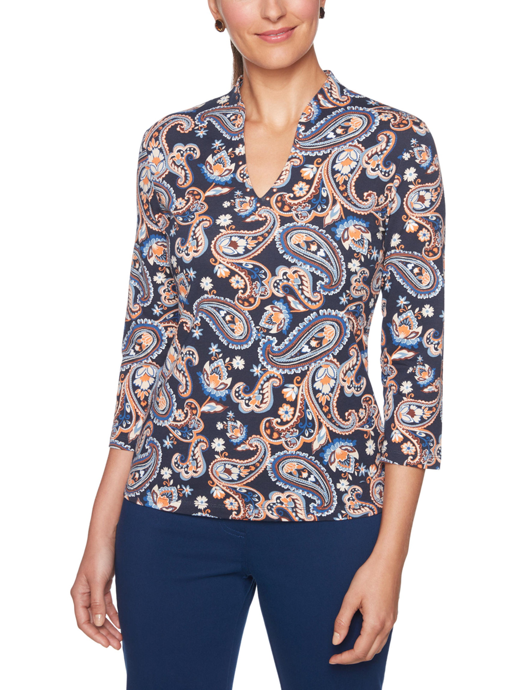 Ruby Road Navy Multi Shirts & Blouses